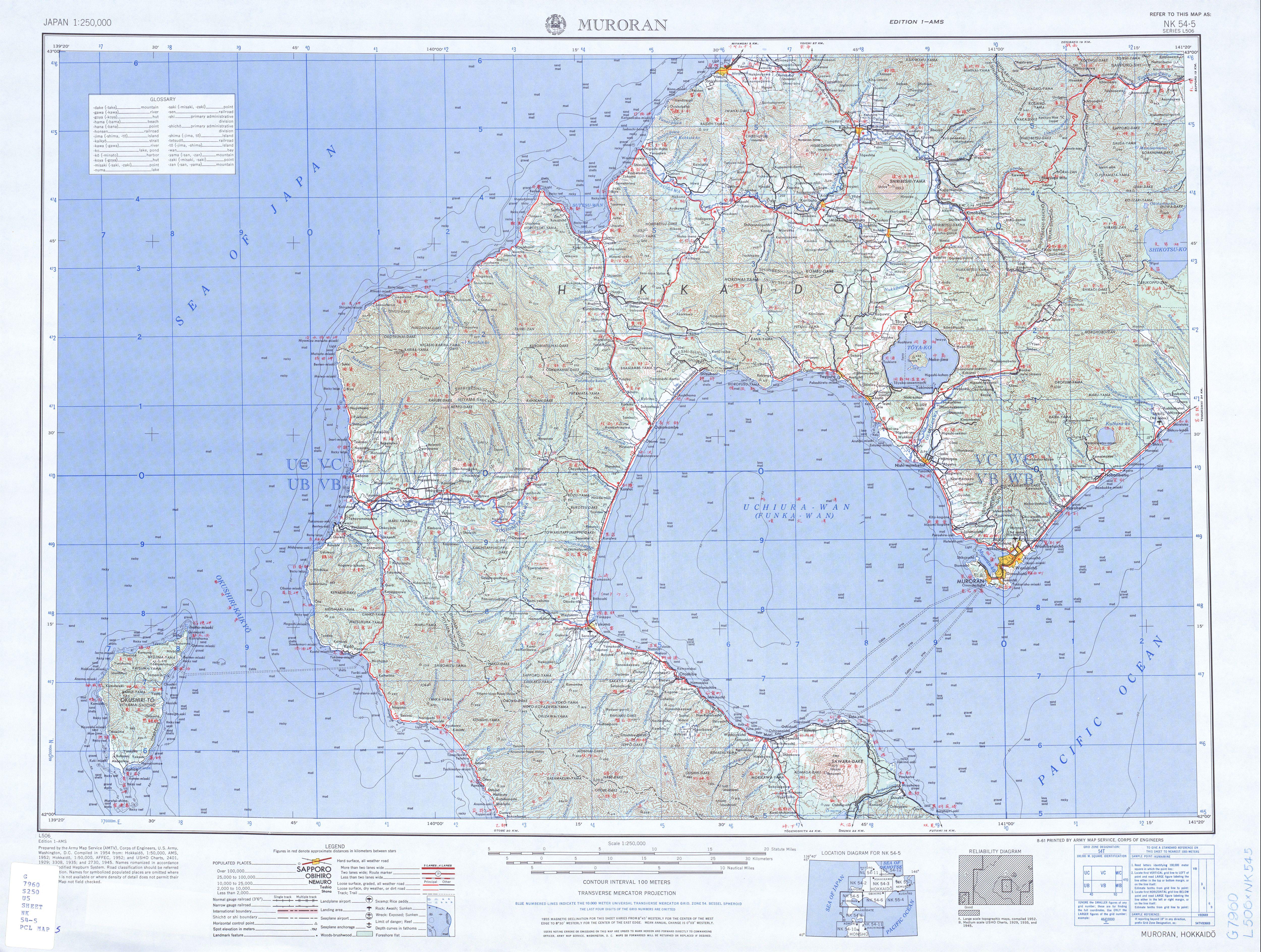 Muroran Topographic Map Sheet, Japan 1954