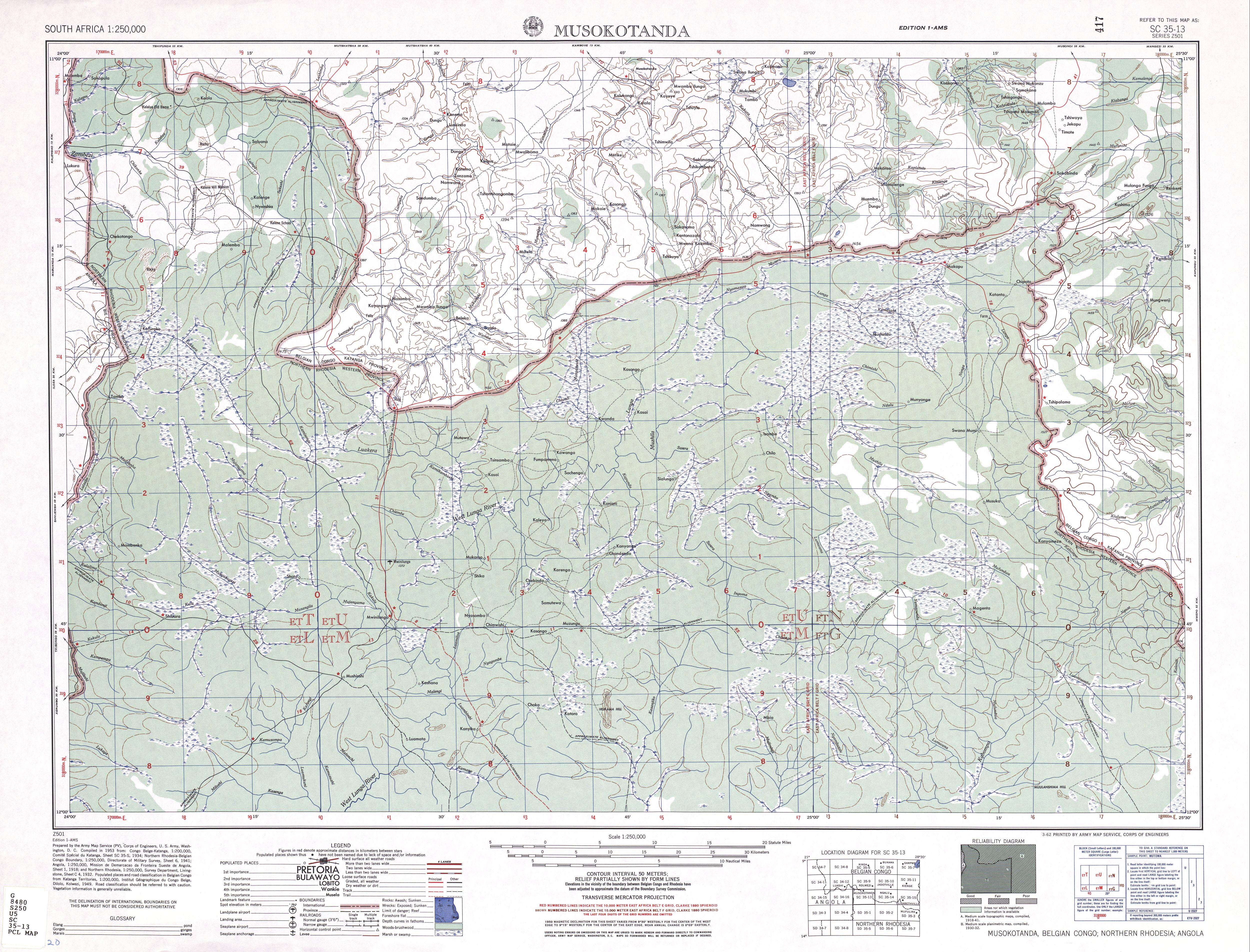 Musokotanda Topographic Map Sheet, Southern Africa 1954