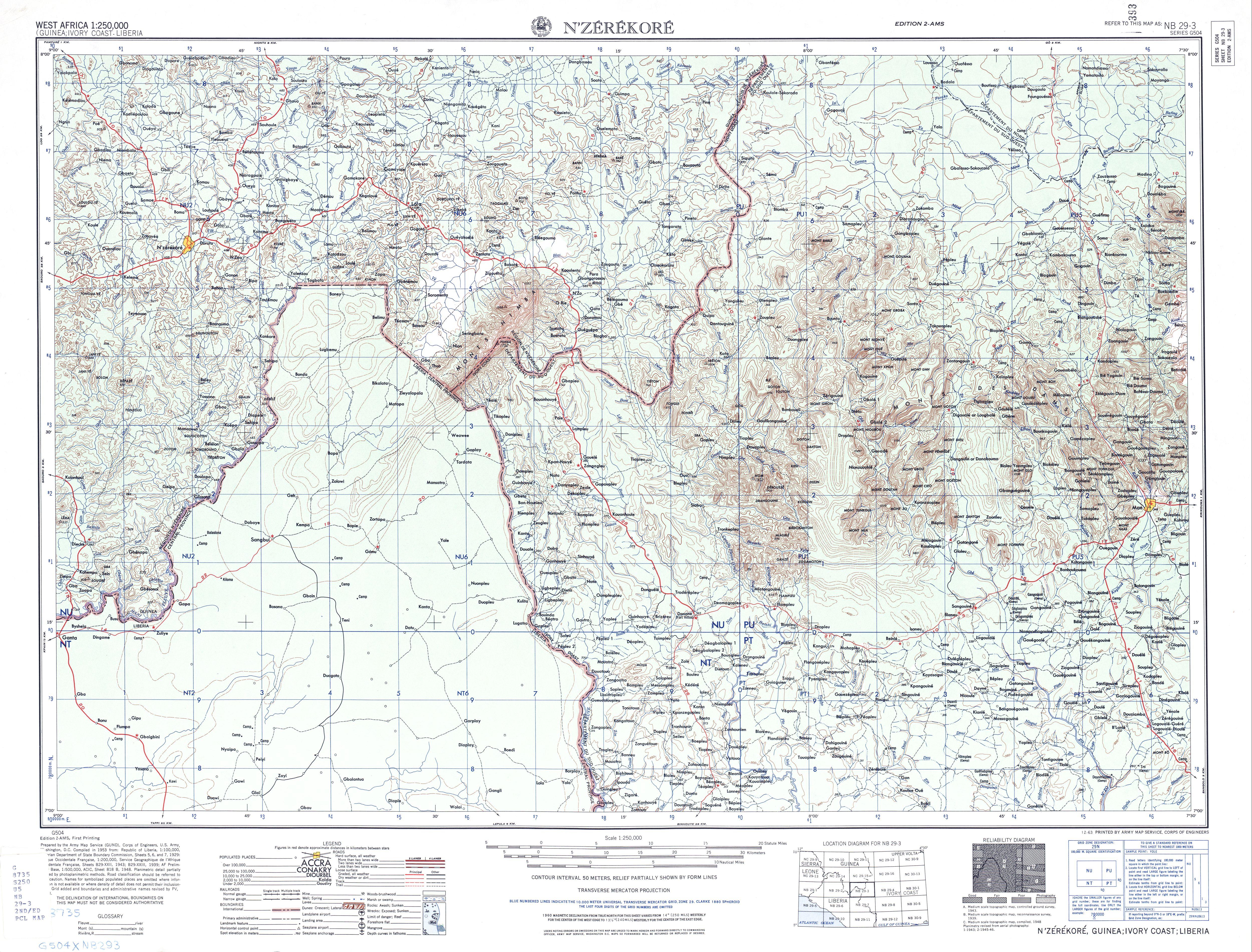 Hoja N'zerekore del Mapa Topográfico de África Occidental 1955