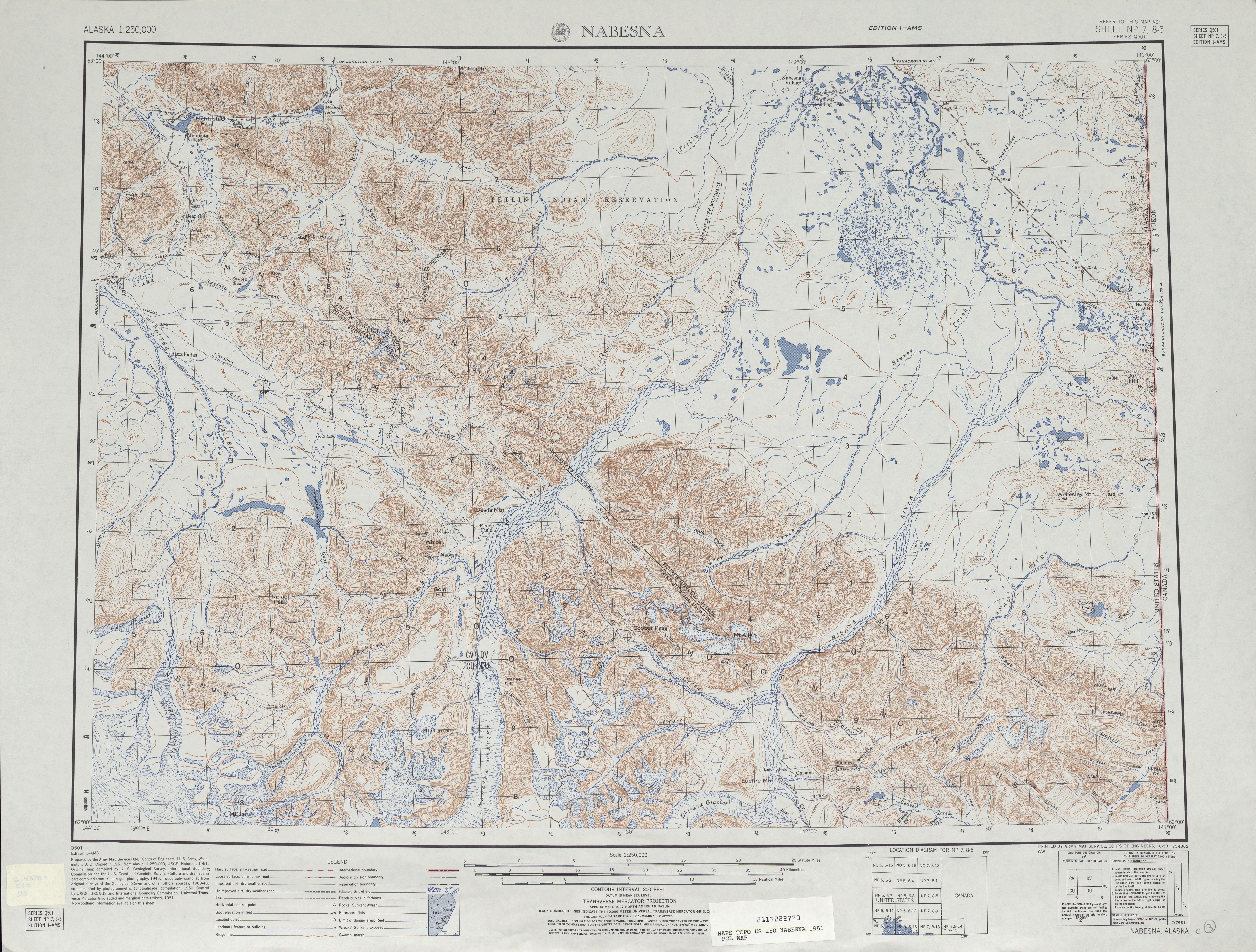Hoja Nabesna del Mapa Topográfico de los Estados Unidos 1951
