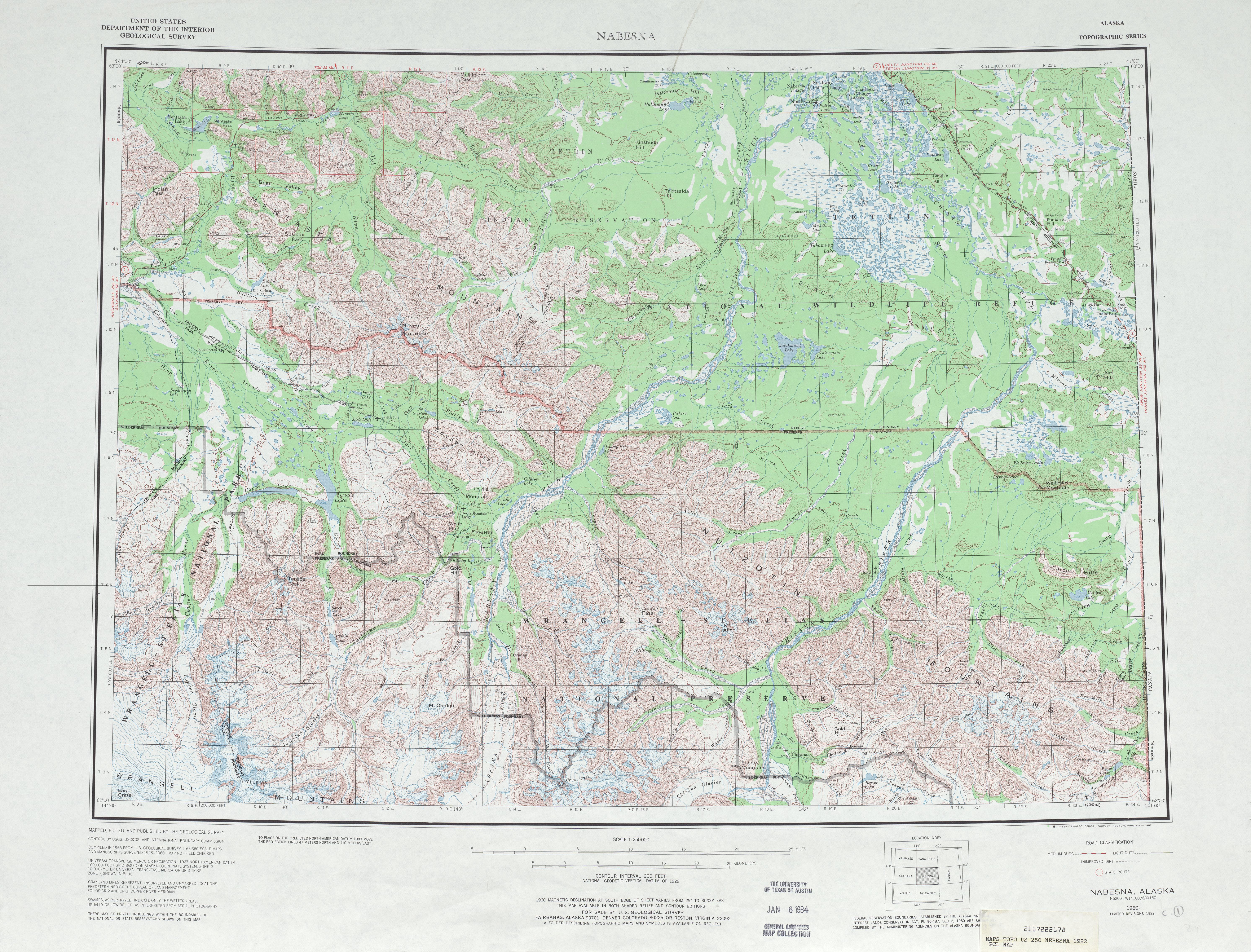 Nabesna Topographic Map Sheet, United States 1982