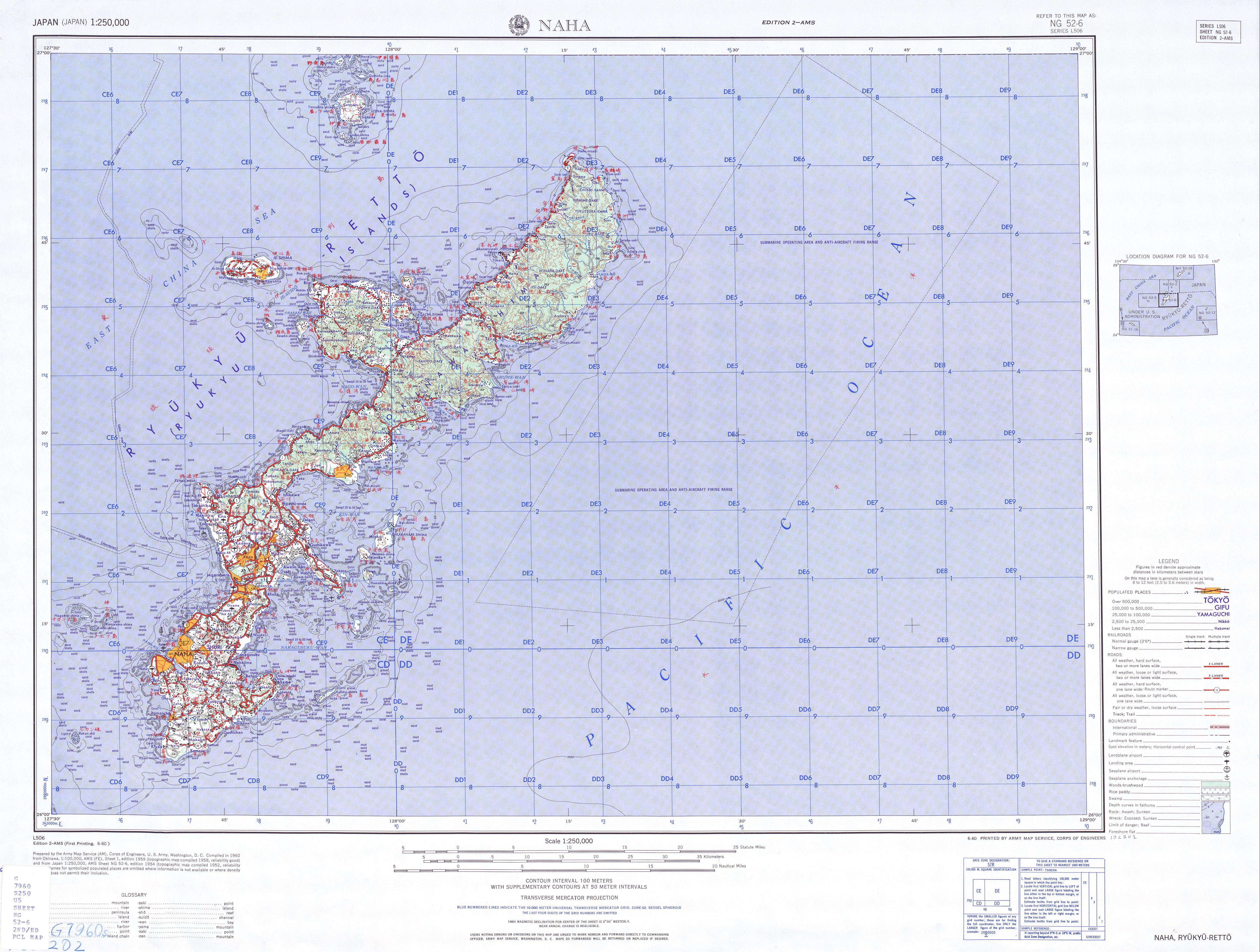 Naha Topographic Map Sheet, Japan 1954