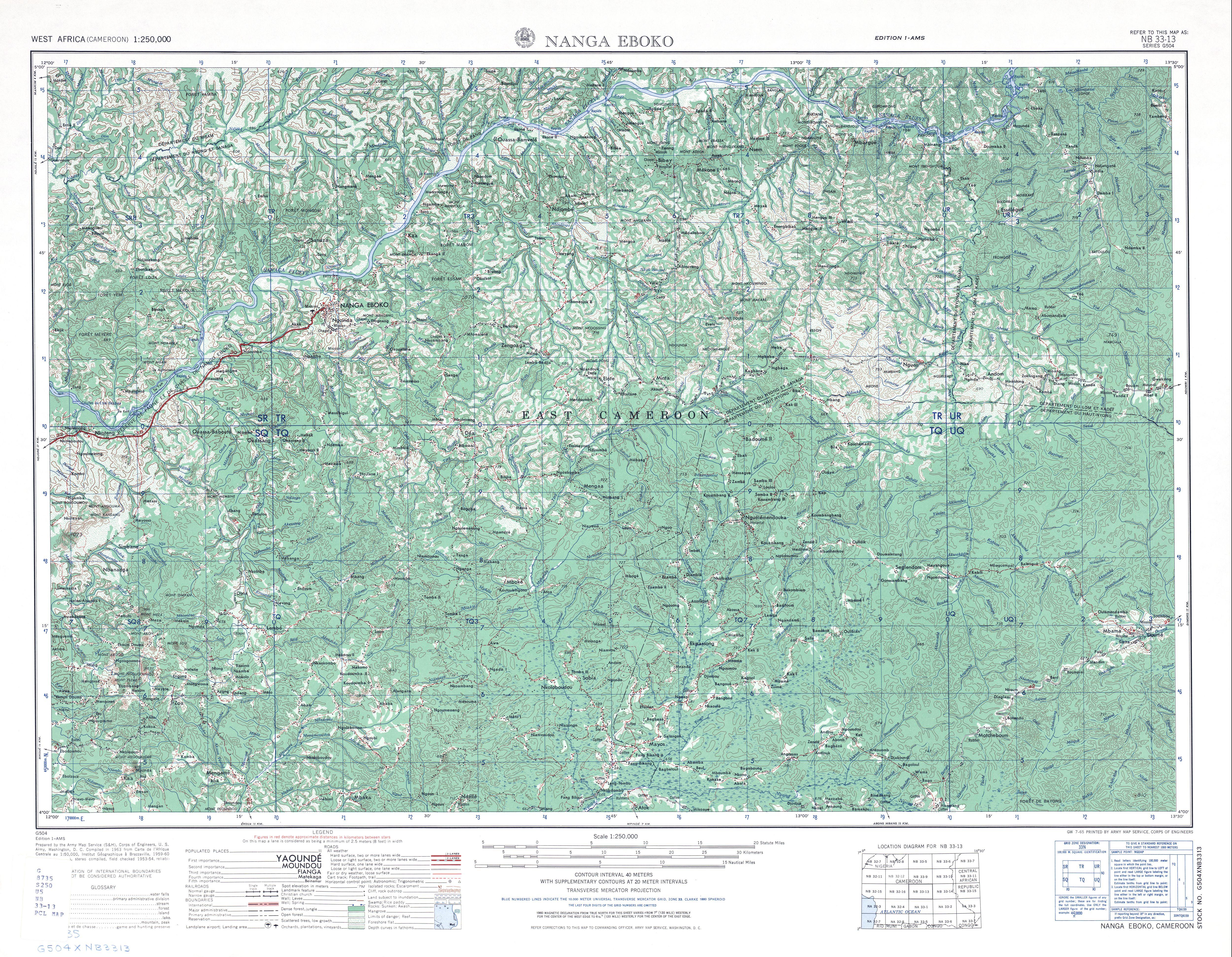 Hoja Nanga Eboko del Mapa Topográfico de África Occidental 1955