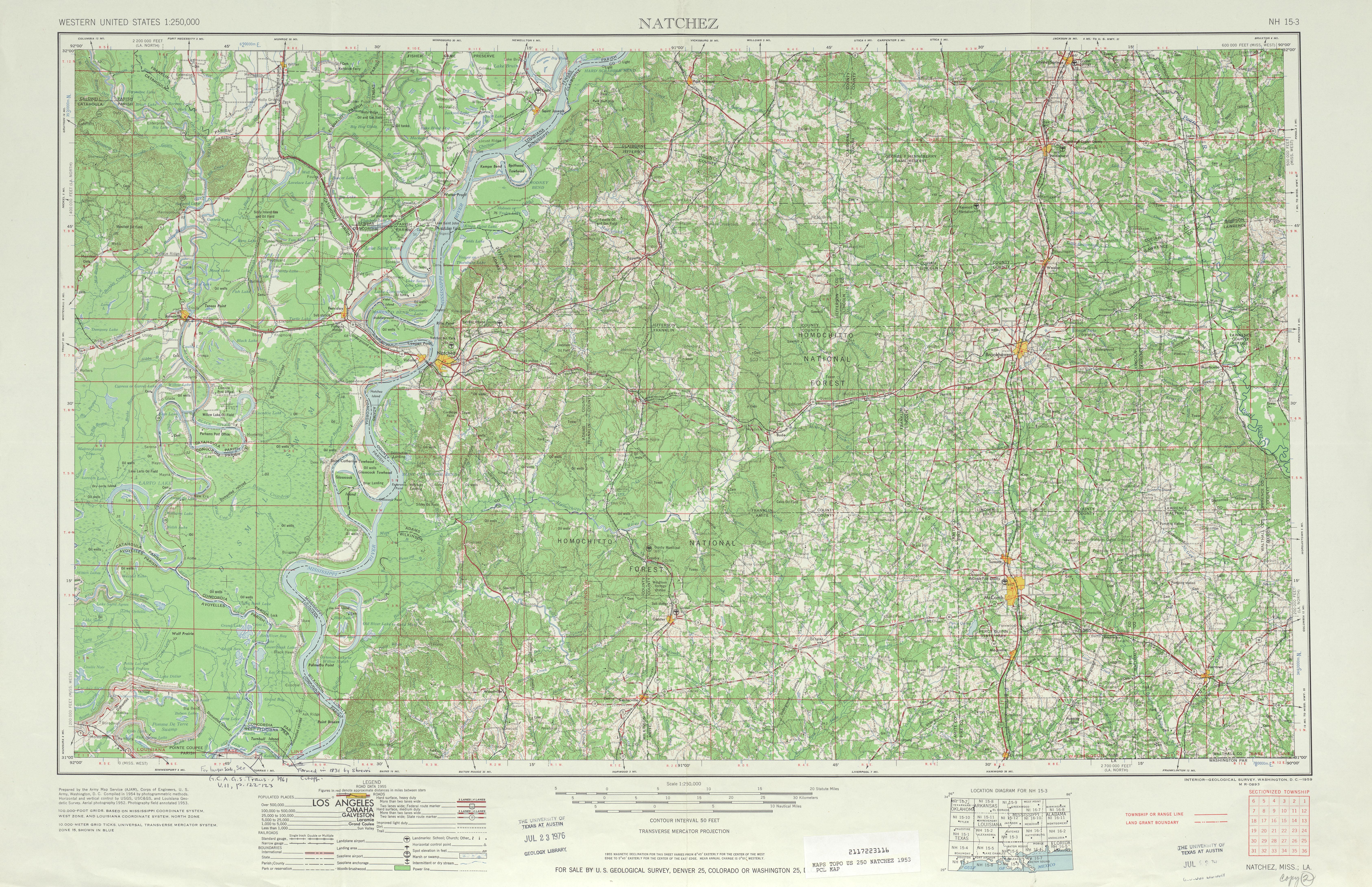 Natchez Topographic Map Sheet, United States 1953