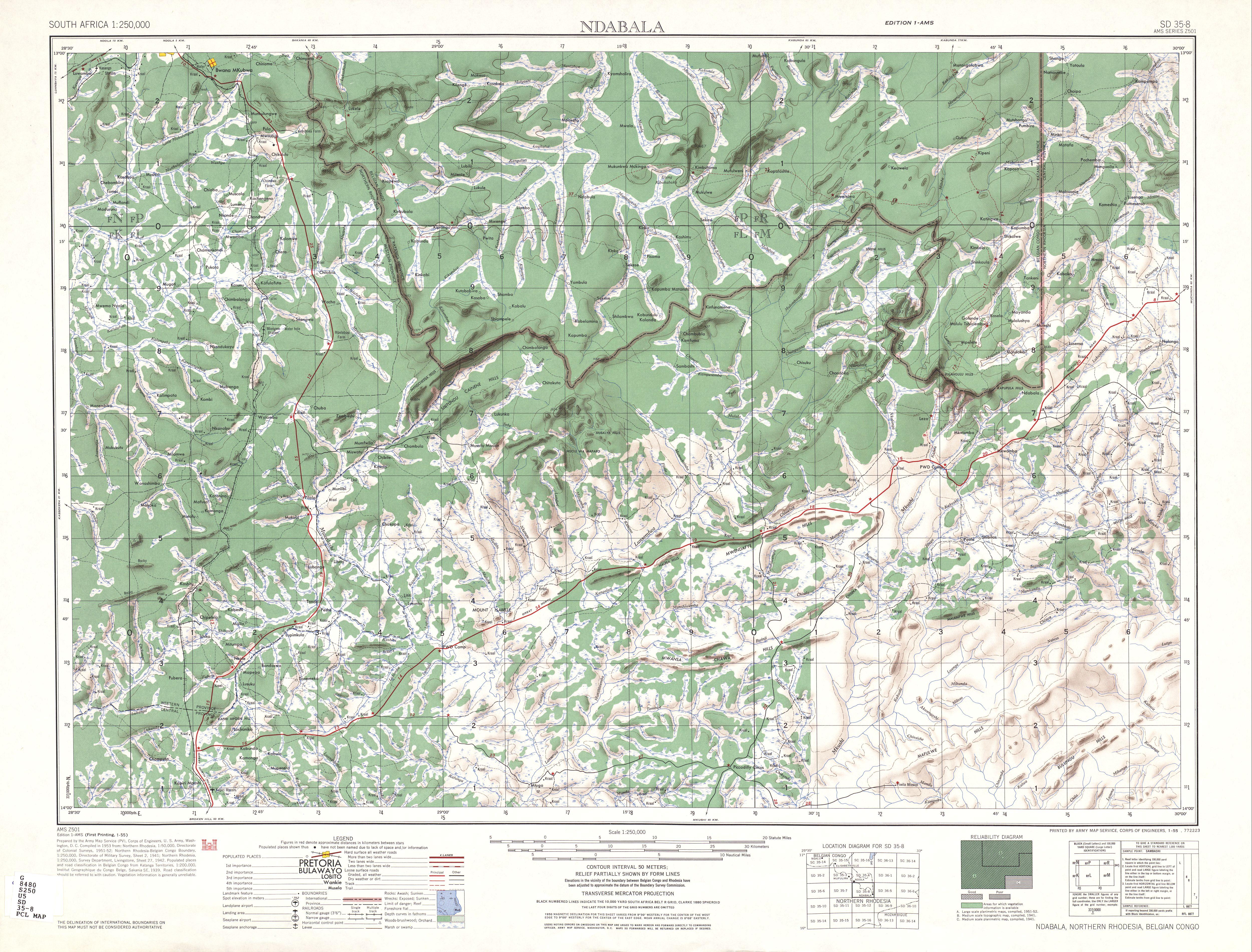 Hoja Ndabala del Mapa Topográfico de África Meridional 1954