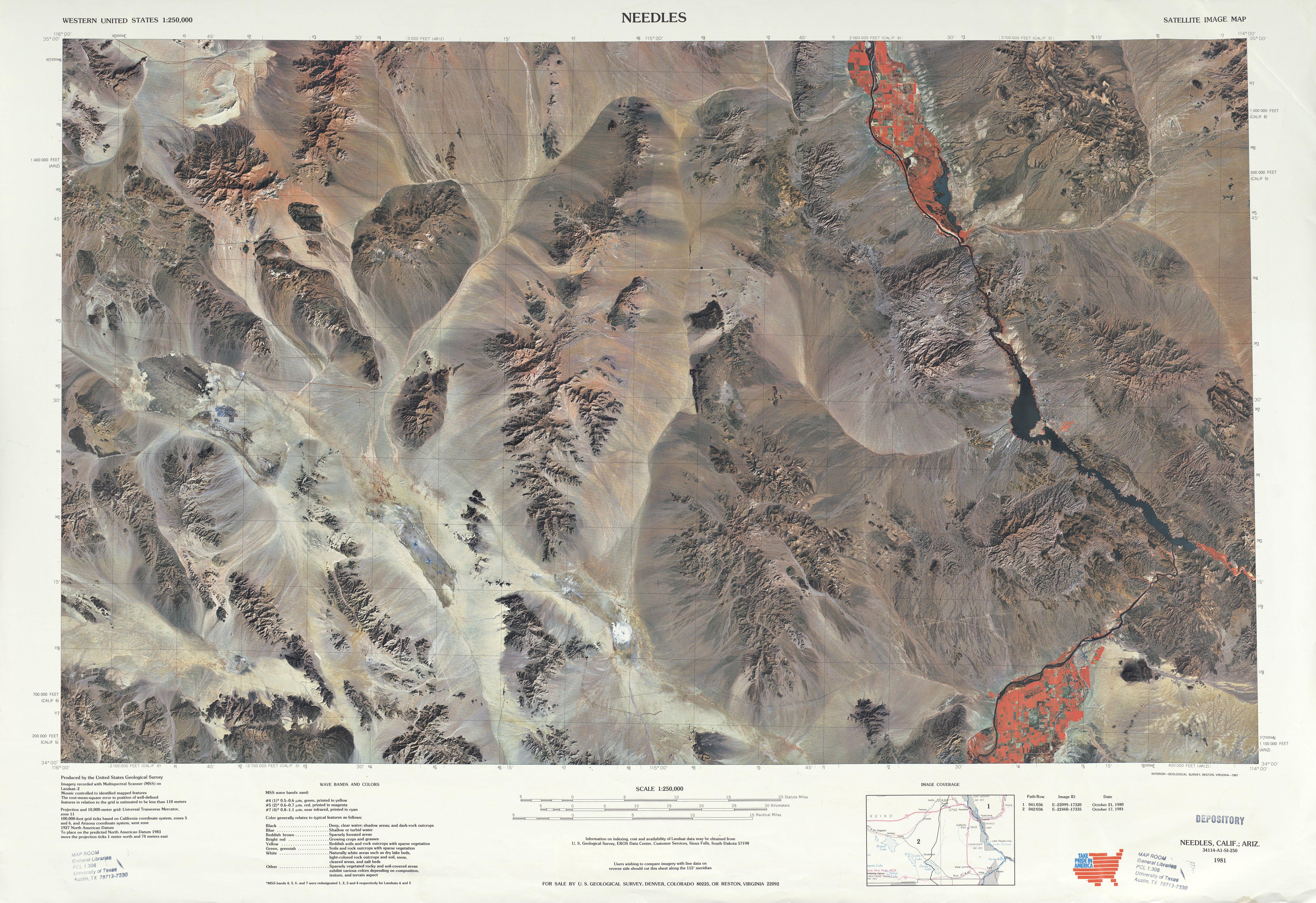 Hoja Needles del Mapa Topográfico de los Estados Unidos 1969