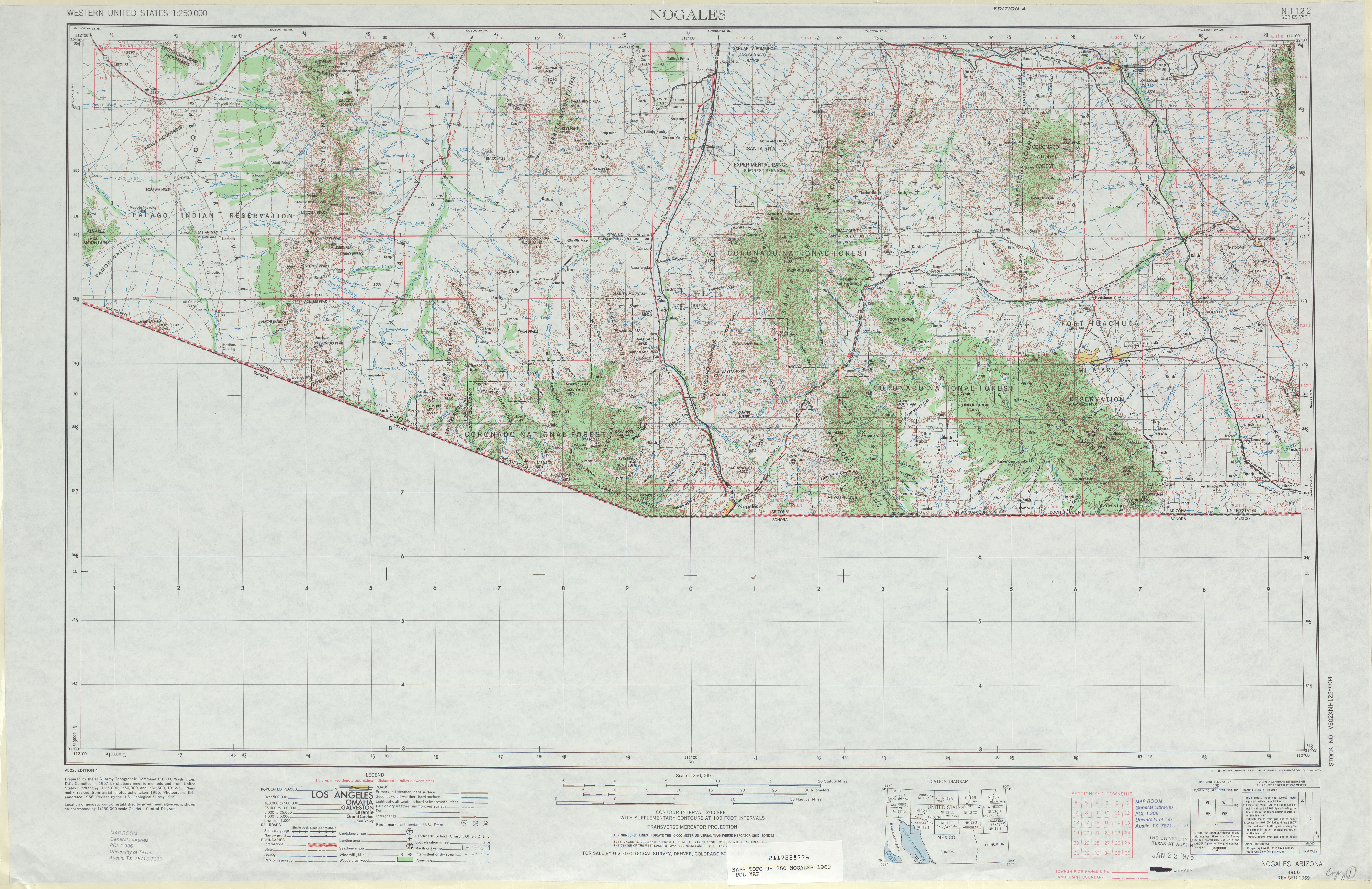 Nogales Topographic Map Sheet, United States 1969