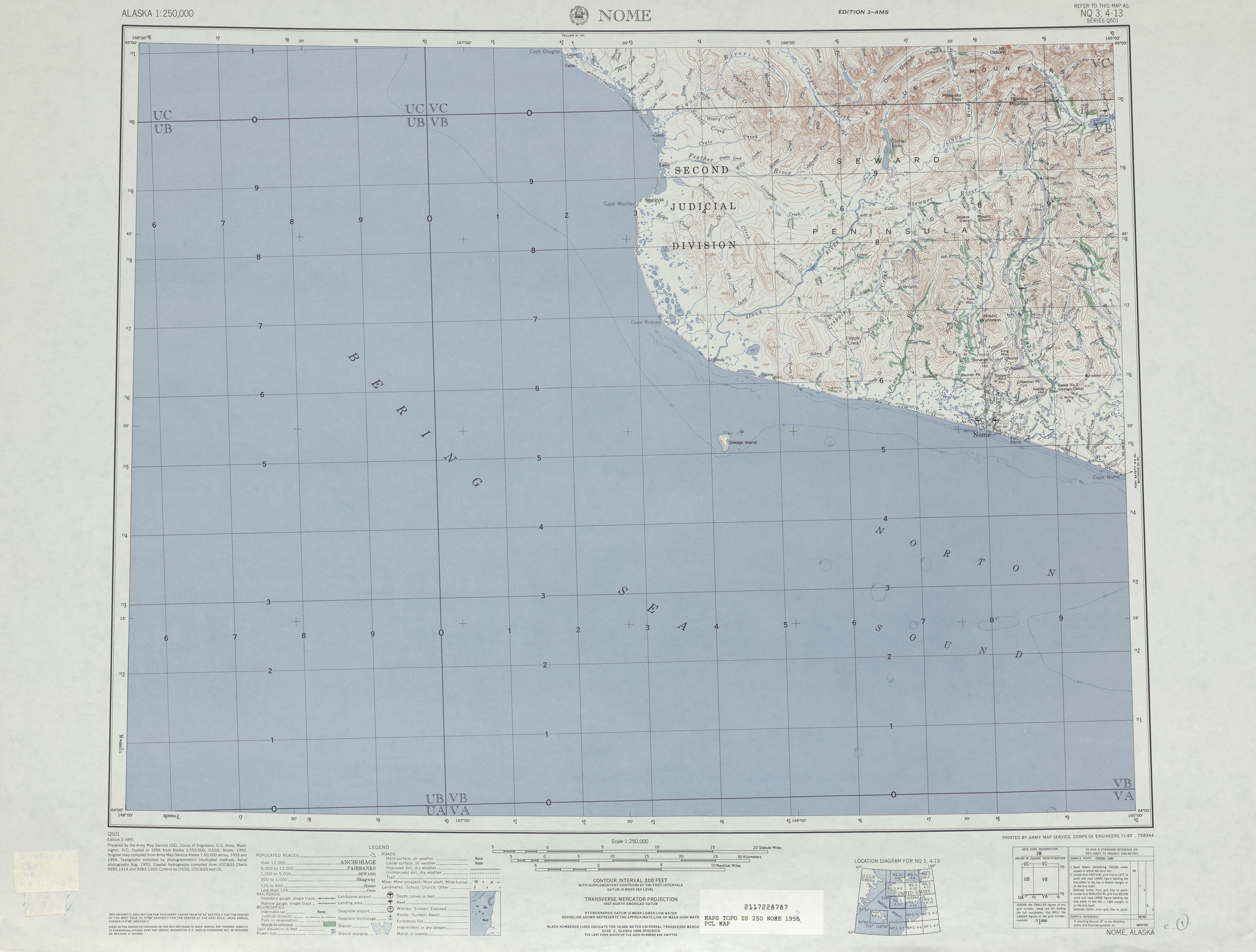 Hoja Nome del Mapa Topográfico de los Estados Unidos 1955