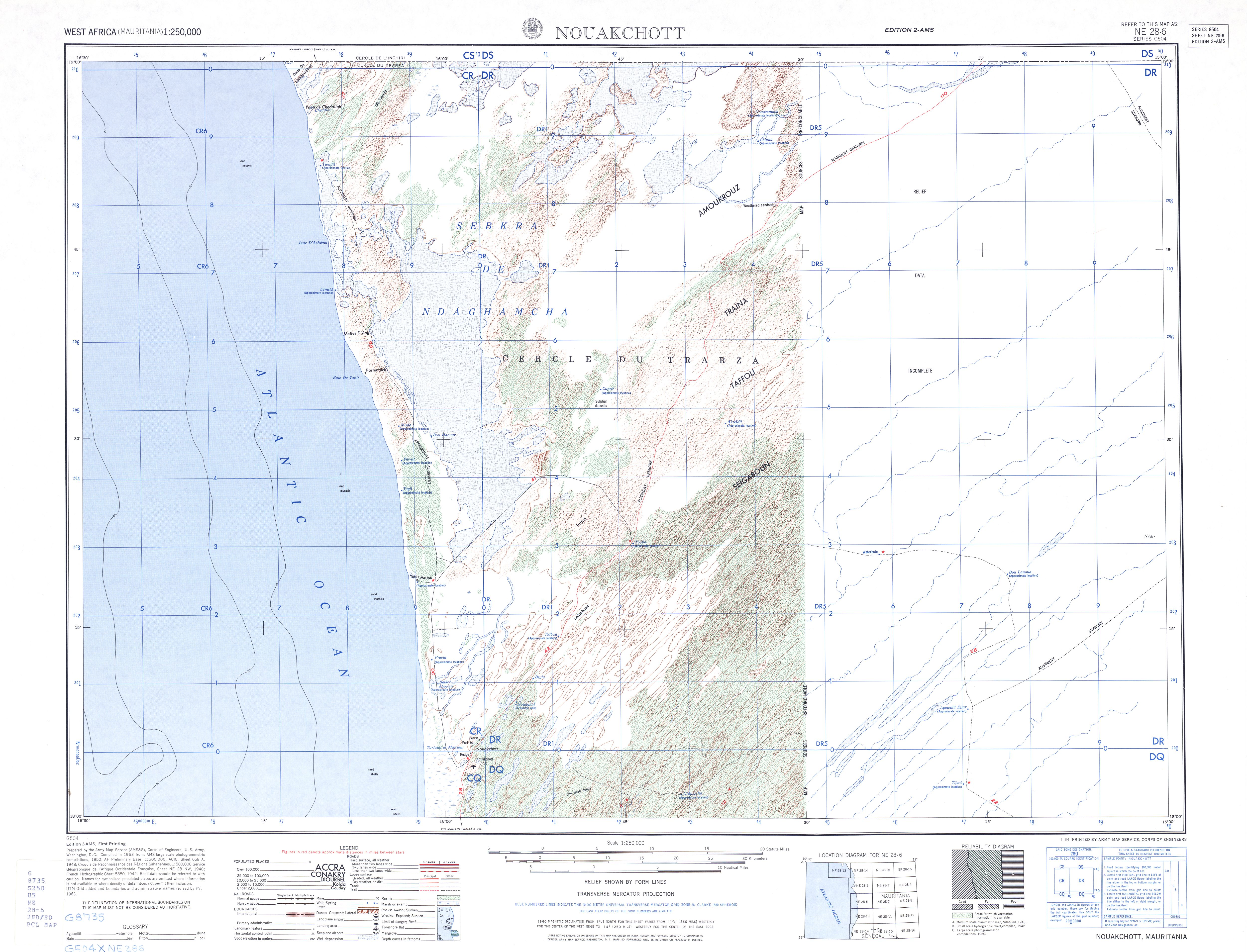 Hoja Nuakchott del Mapa Topográfico de África Occidental 1955