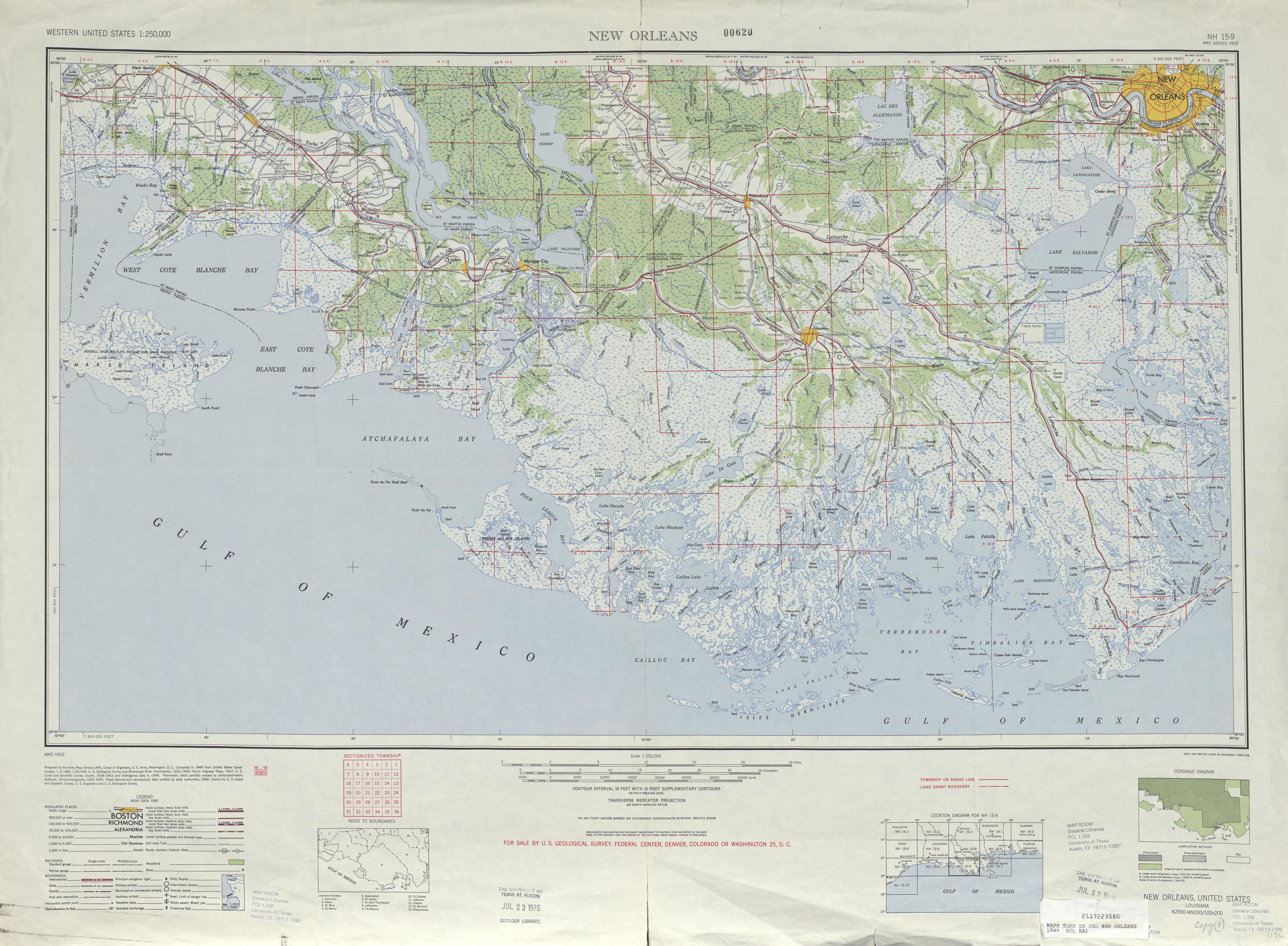 Hoja Nueva Orleans del Mapa Topográfico de los Estados Unidos 1949