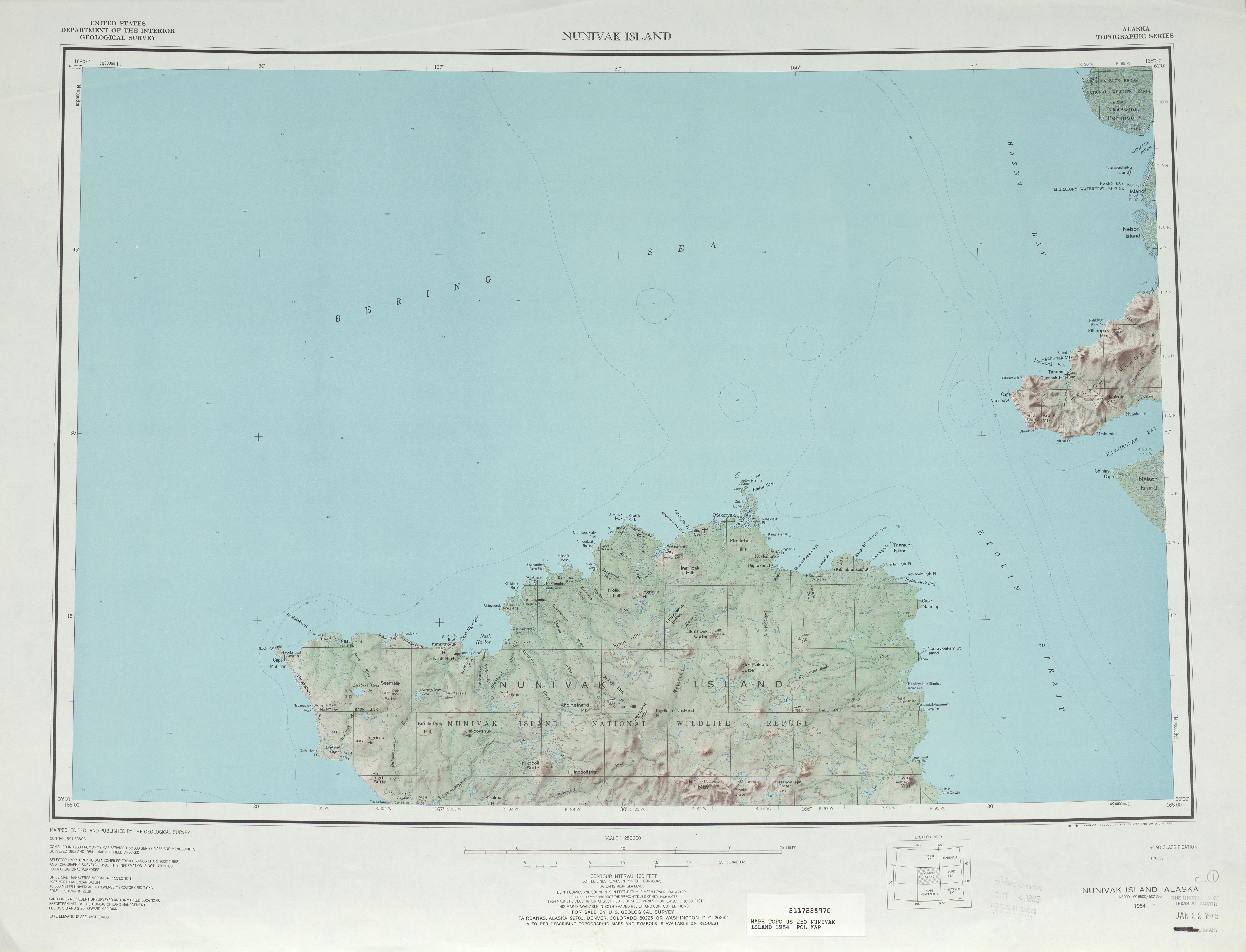 Nunivak Island Topographic Map Sheet, United States 1954