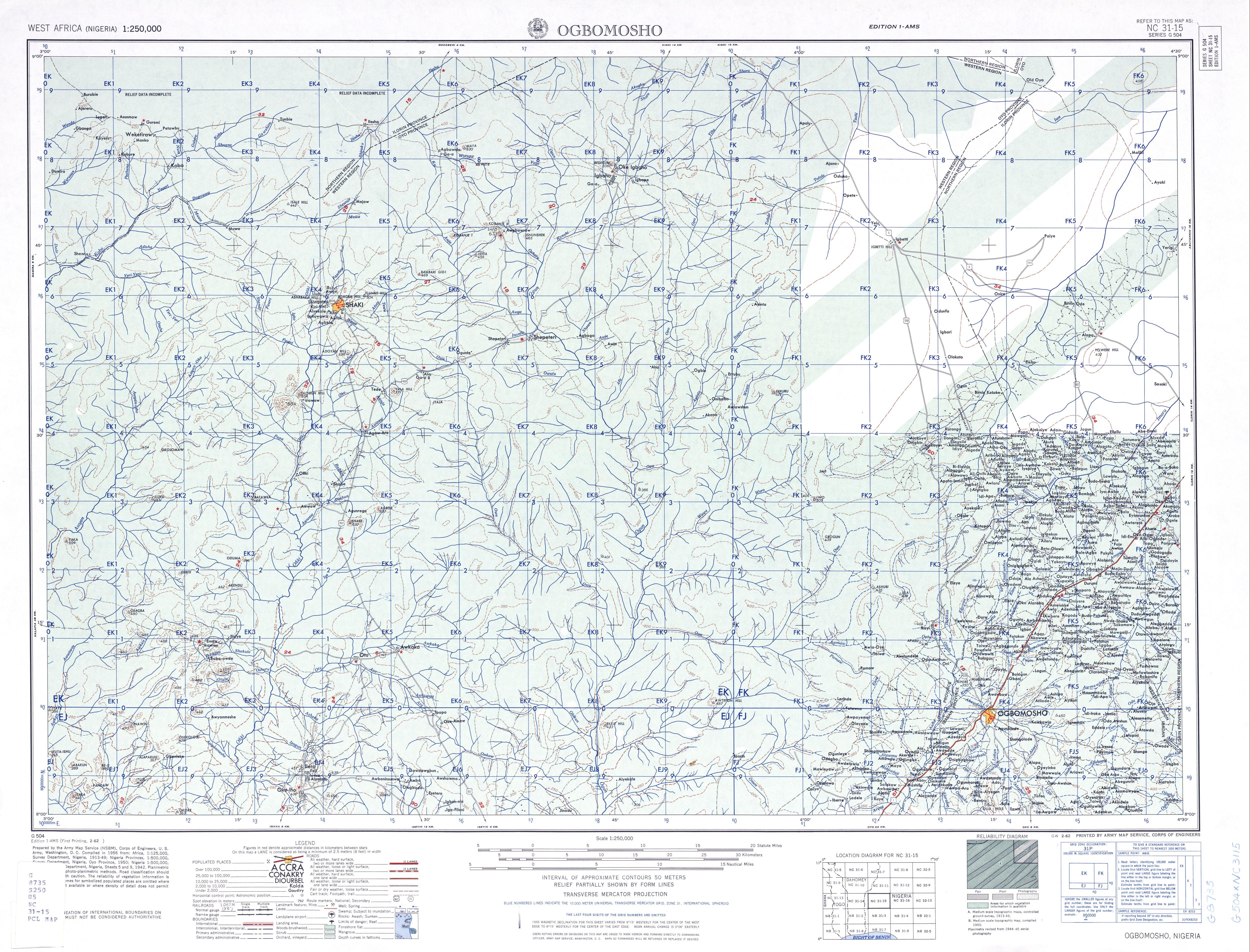 Hoja Ogbomosho del Mapa Topográfico de África Occidental 1955