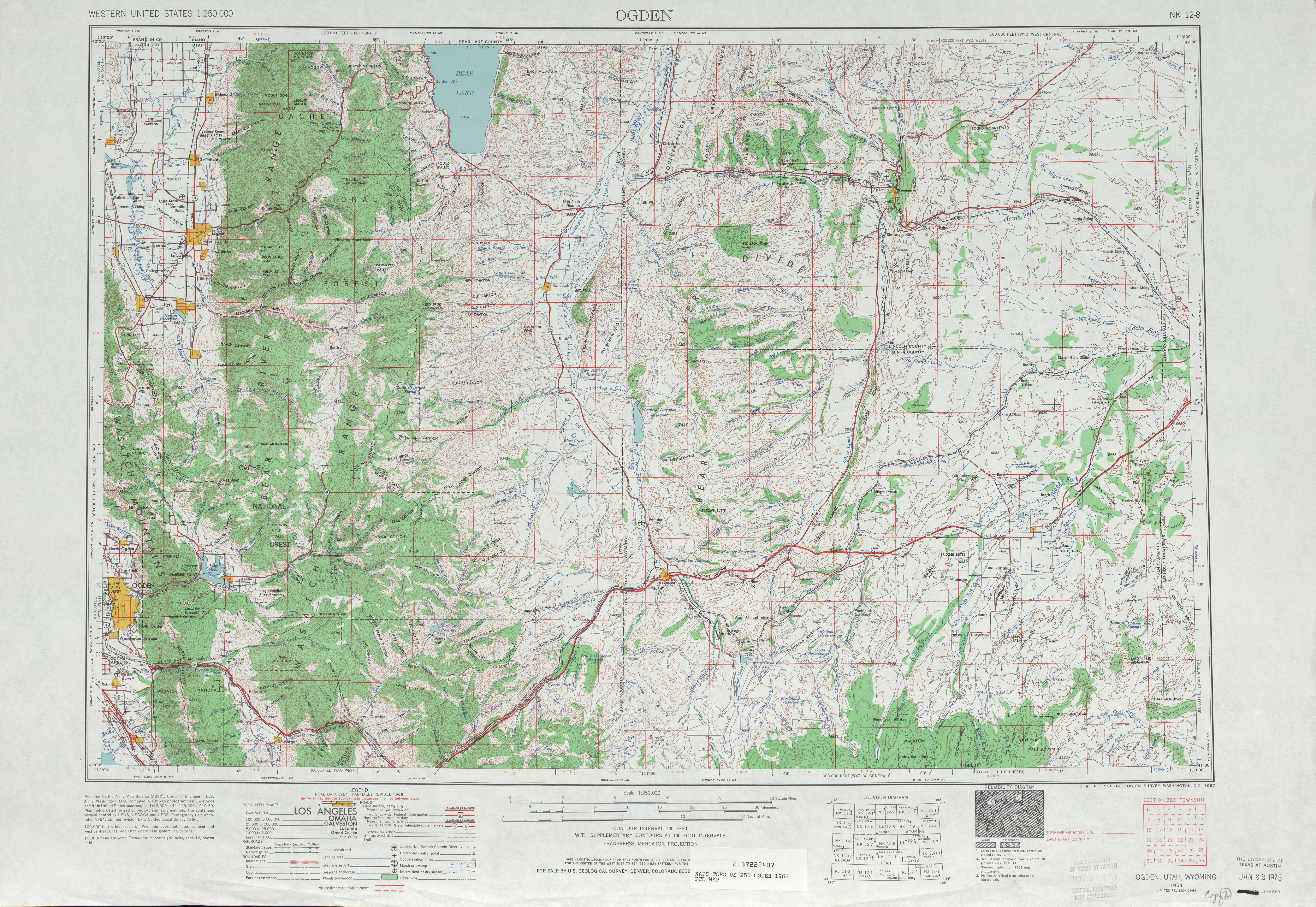 Ogden Topographic Map Sheet, United States 1966