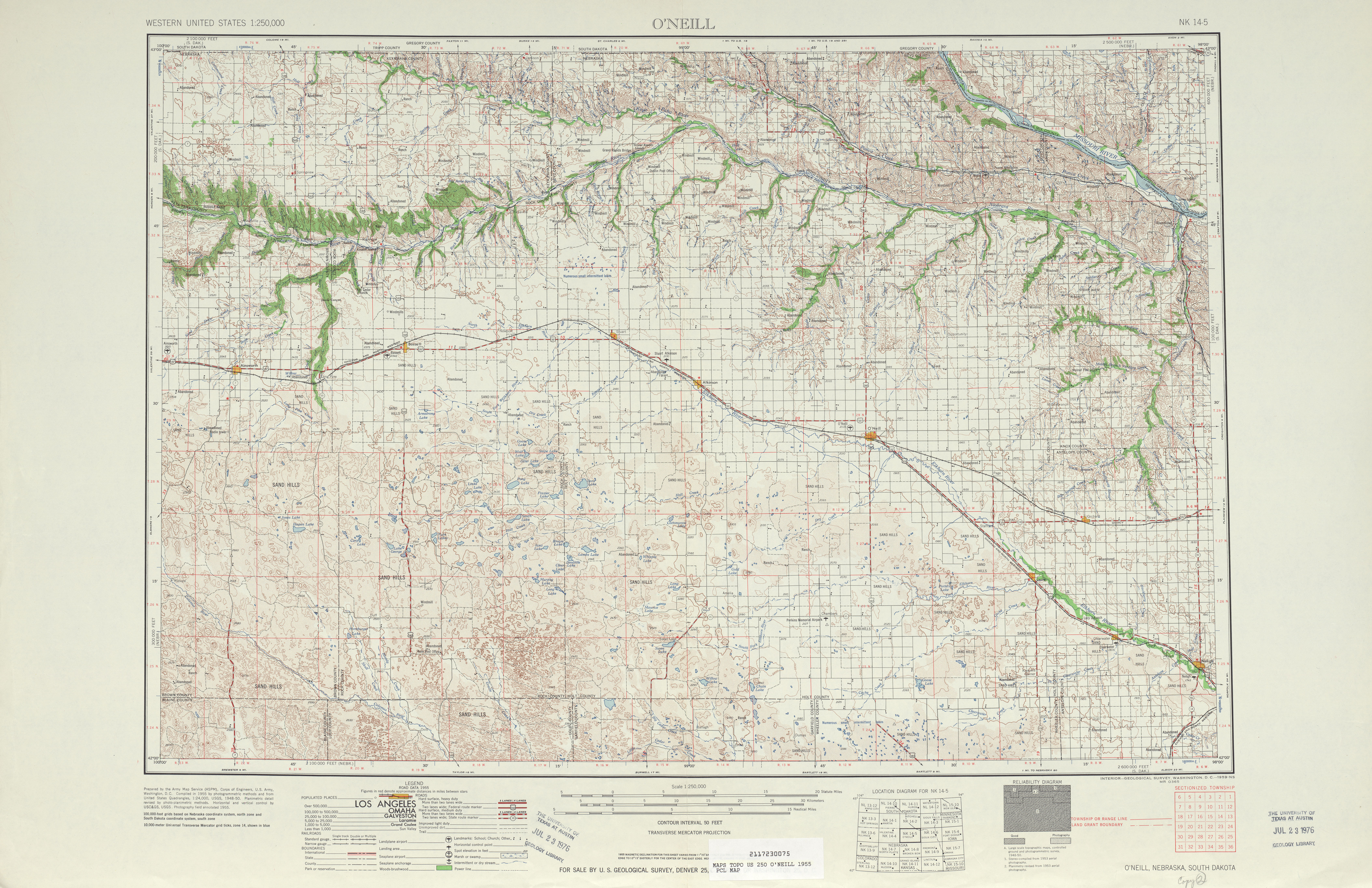 O'neill Topographic Map Sheet, United States 1955