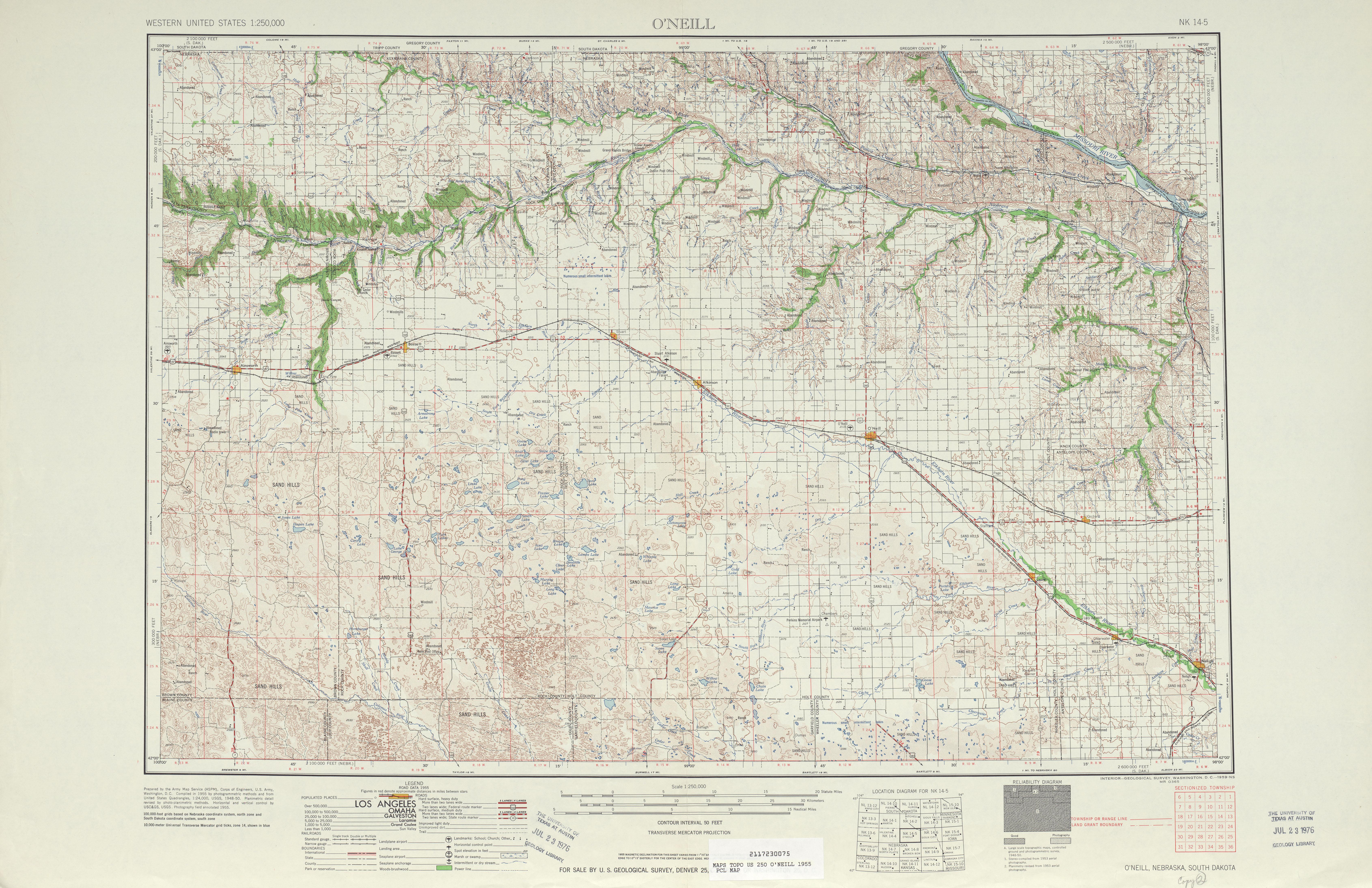 Hoja O'neill del Mapa Topográfico de los Estados Unidos 1955