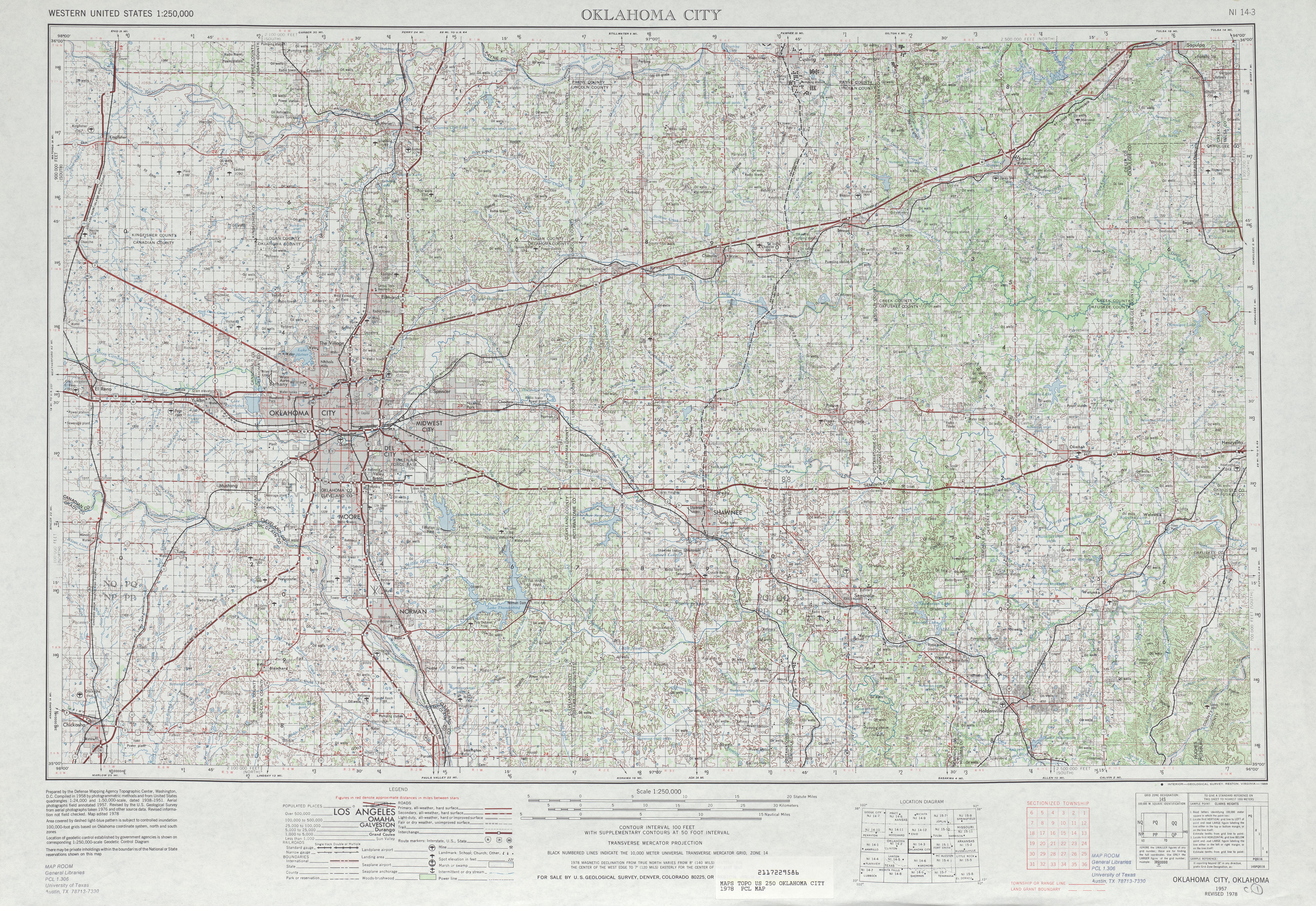 Hoja Oklahoma City del Mapa Topográfico de los Estados Unidos 1978