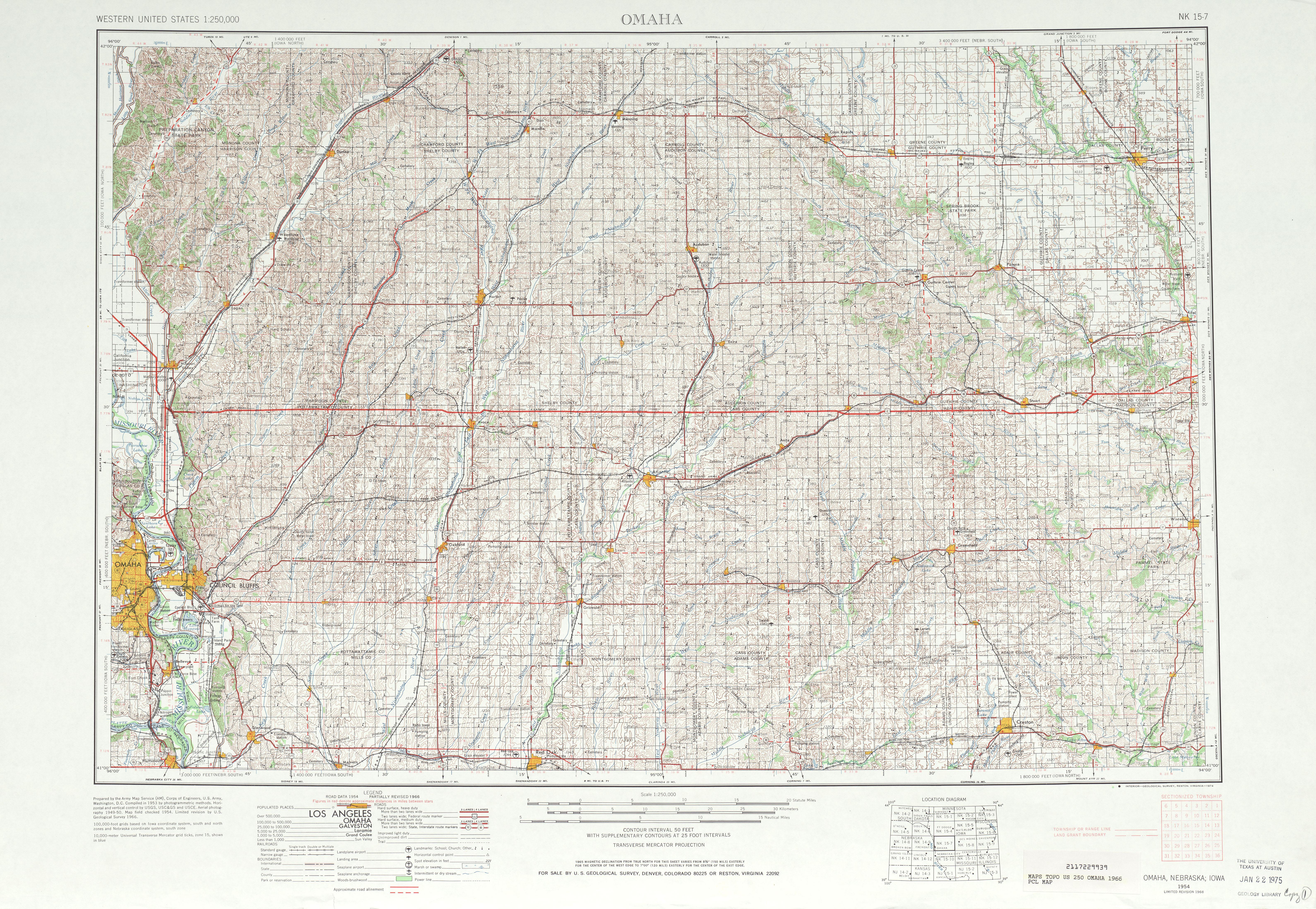 Hoja Omaha del Mapa Topográfico de los Estados Unidos 1966