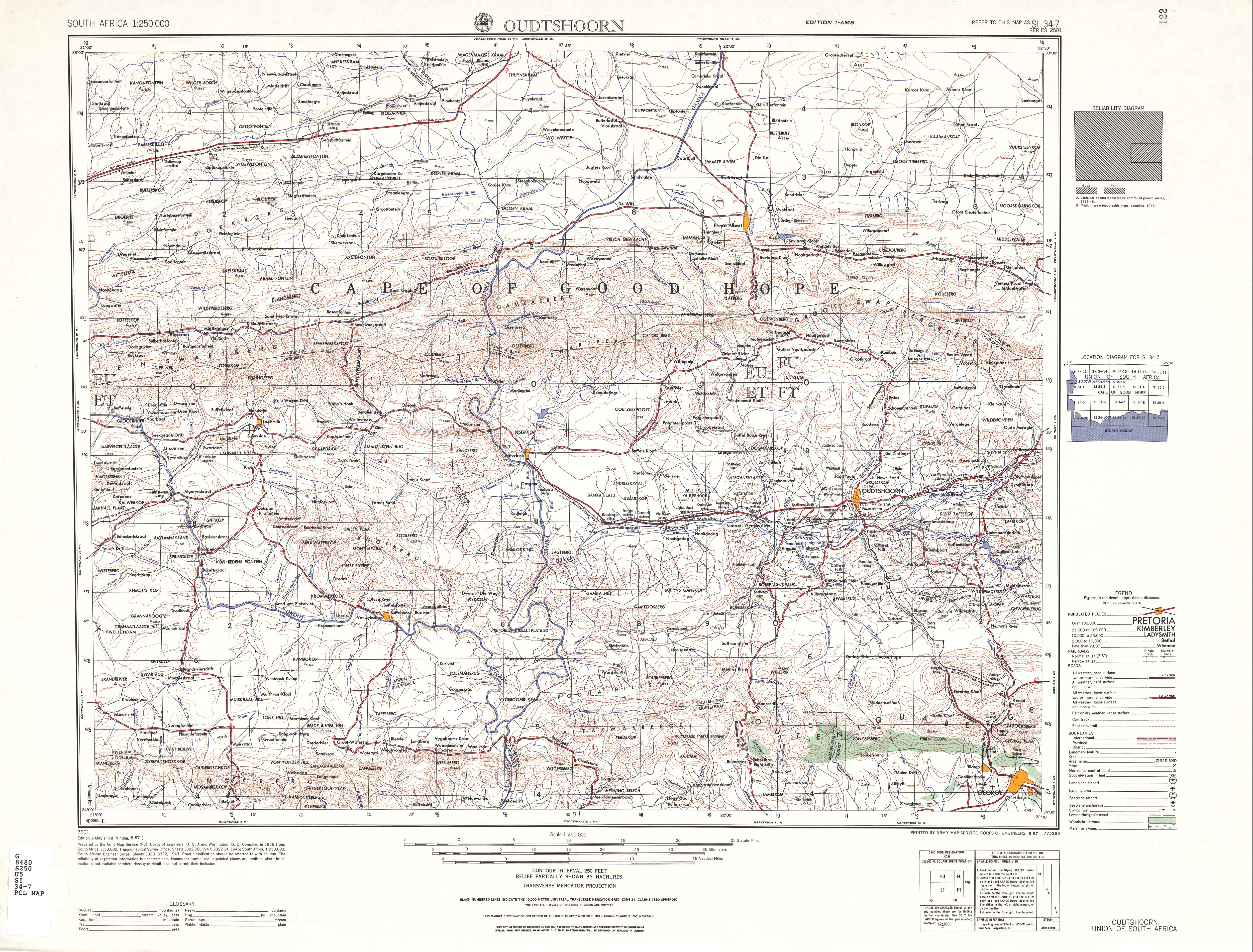 Oudtshoorn Topographic Map Sheet, Southern Africa 1954