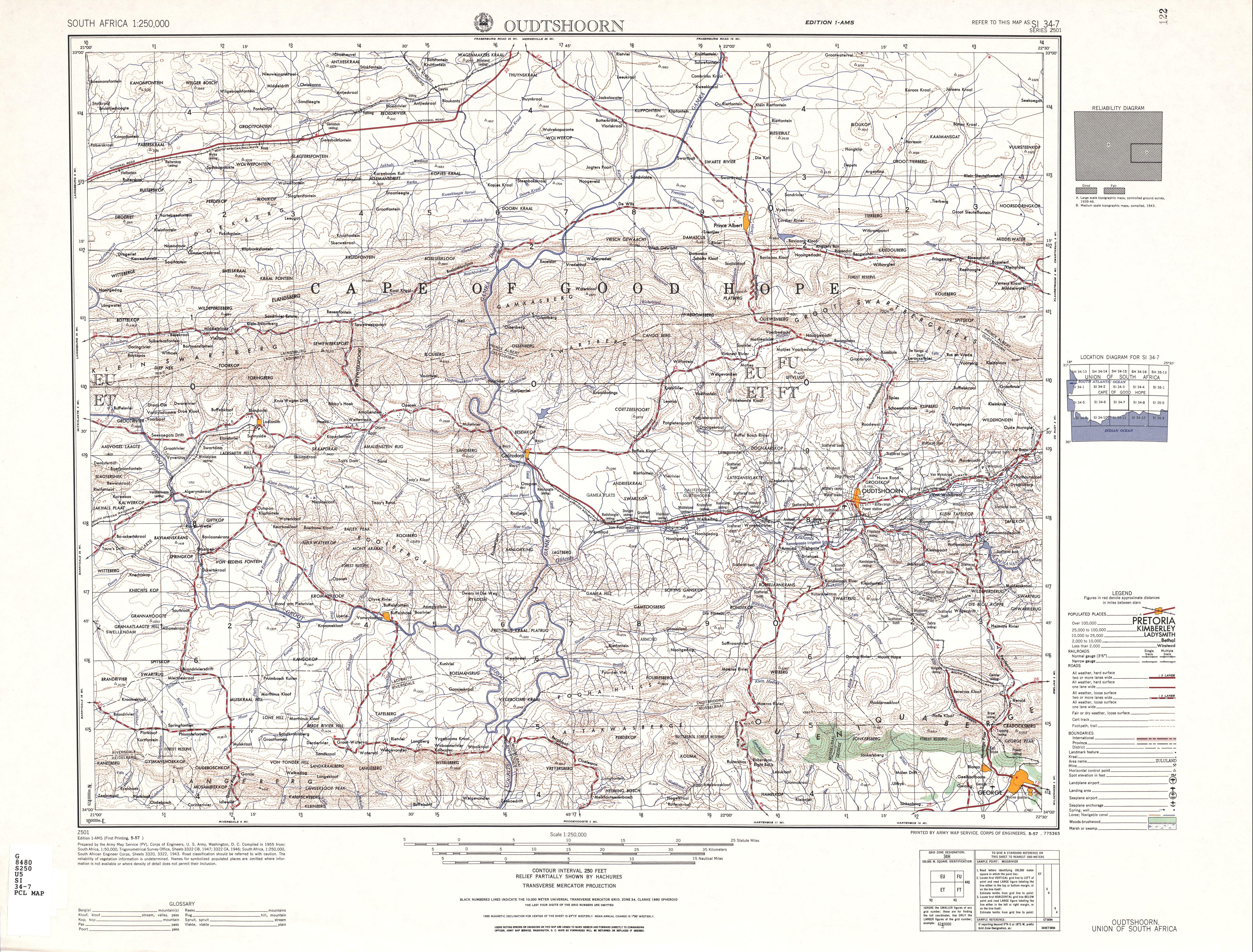 Hoja Oudtshoorn del Mapa Topográfico de África Meridional 1954