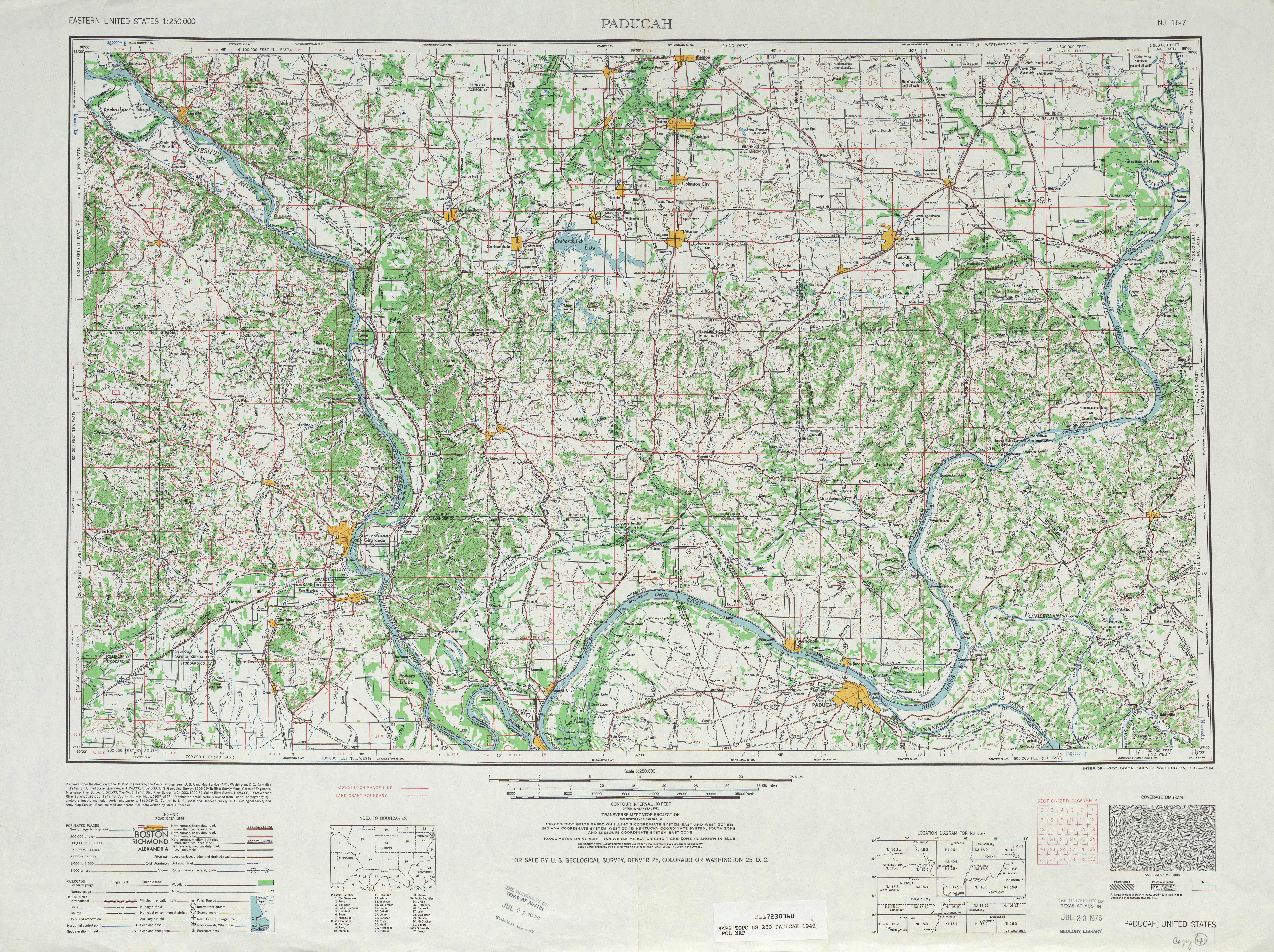 Paducah Topographic Map Sheet, United States 1948
