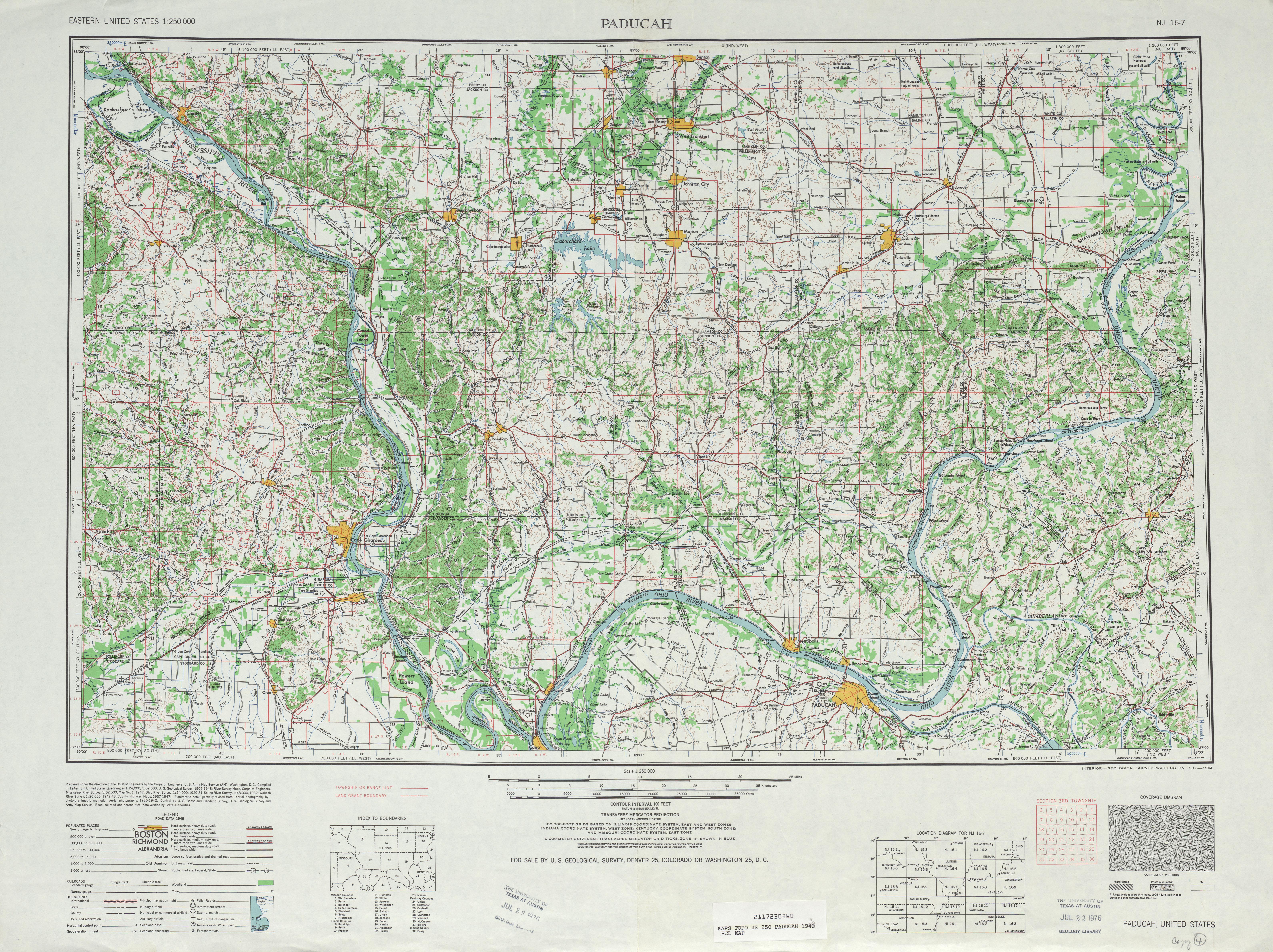 Hoja Paducah del Mapa Topográfico de los Estados Unidos 1948