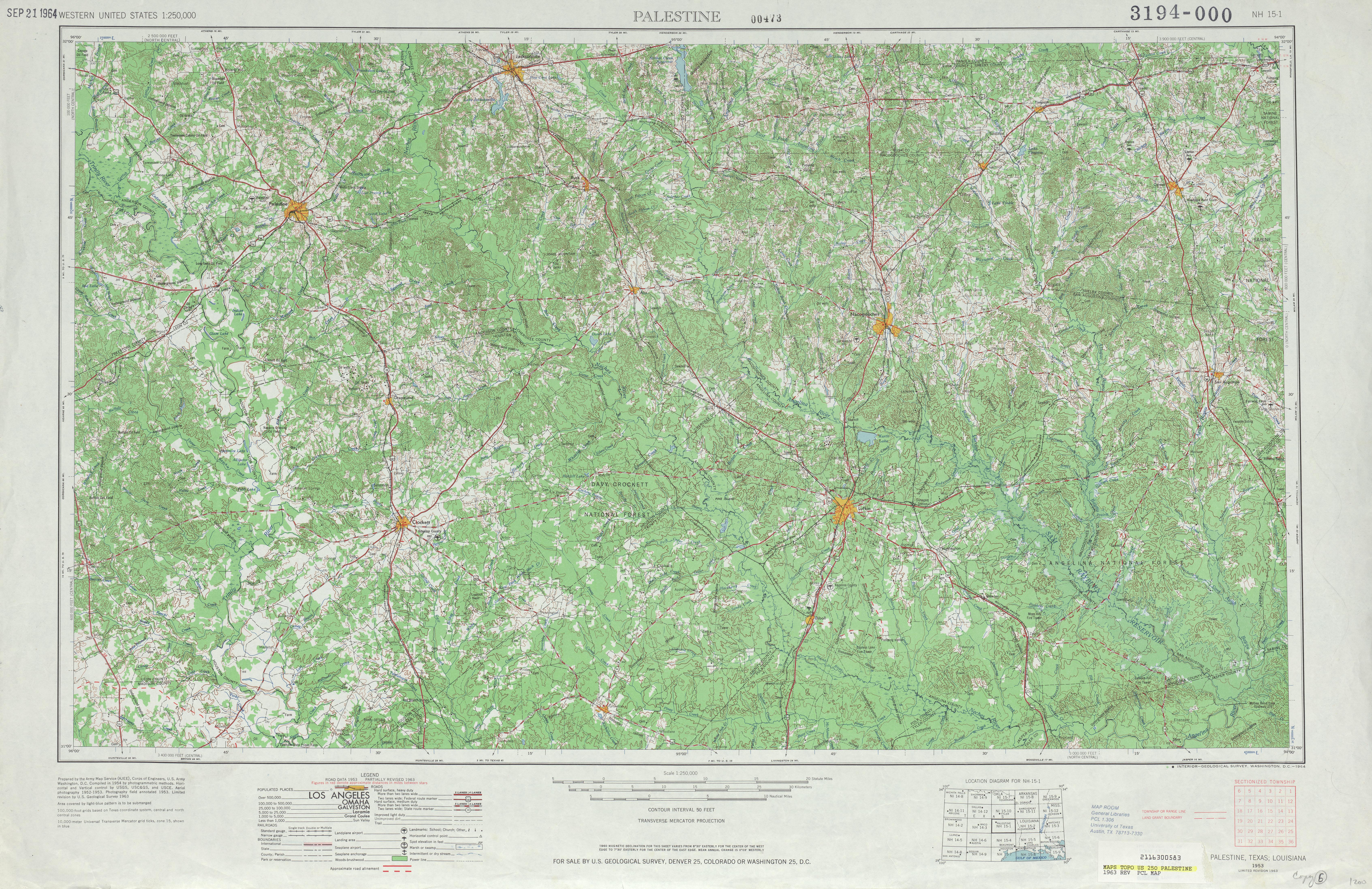 Hoja Palestina del Mapa Topográfico de los Estados Unidos 1963