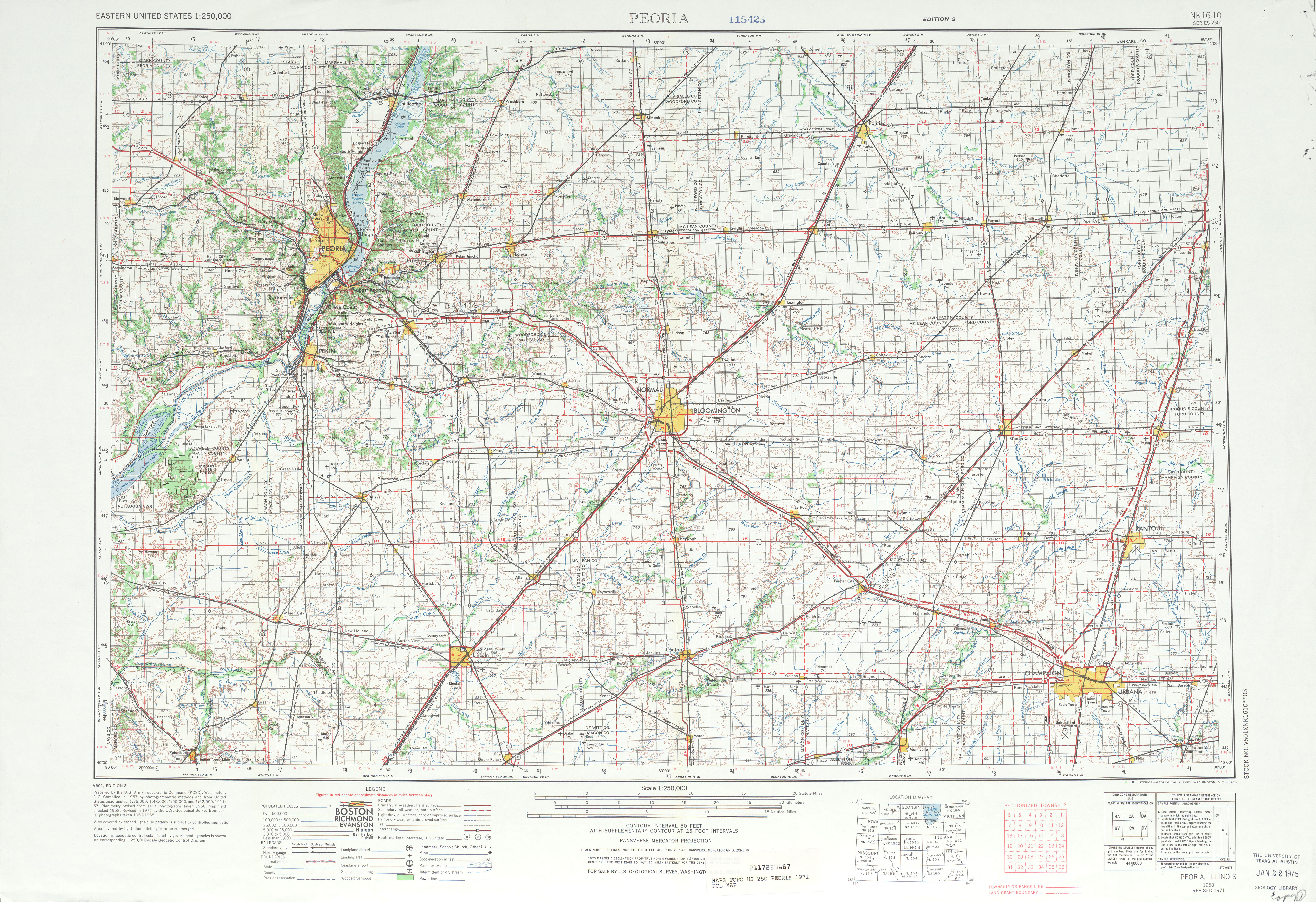 Peoria Topographic Map Sheet, United States 1971