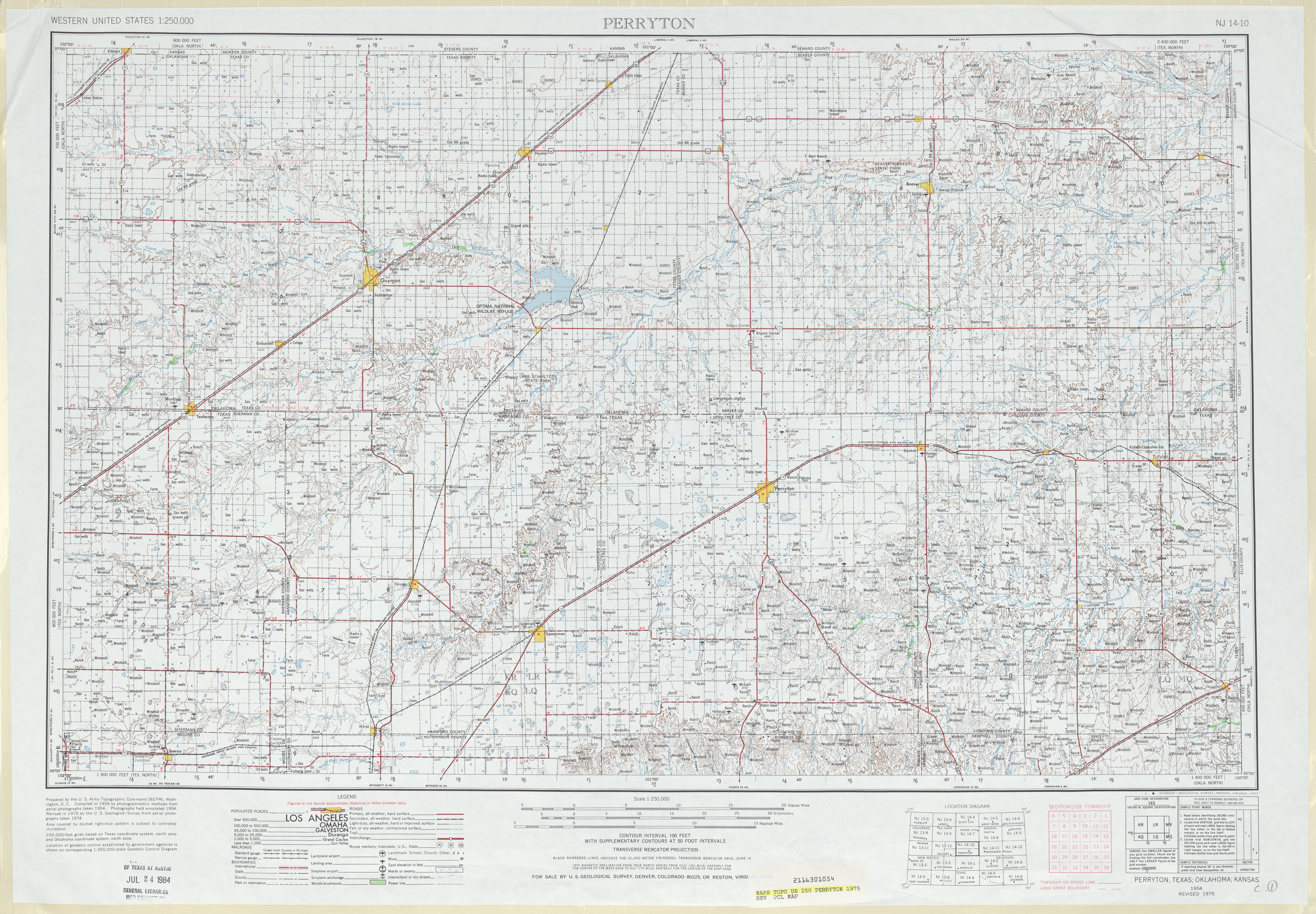 Perryton Topographic Map Sheet, United States 1975