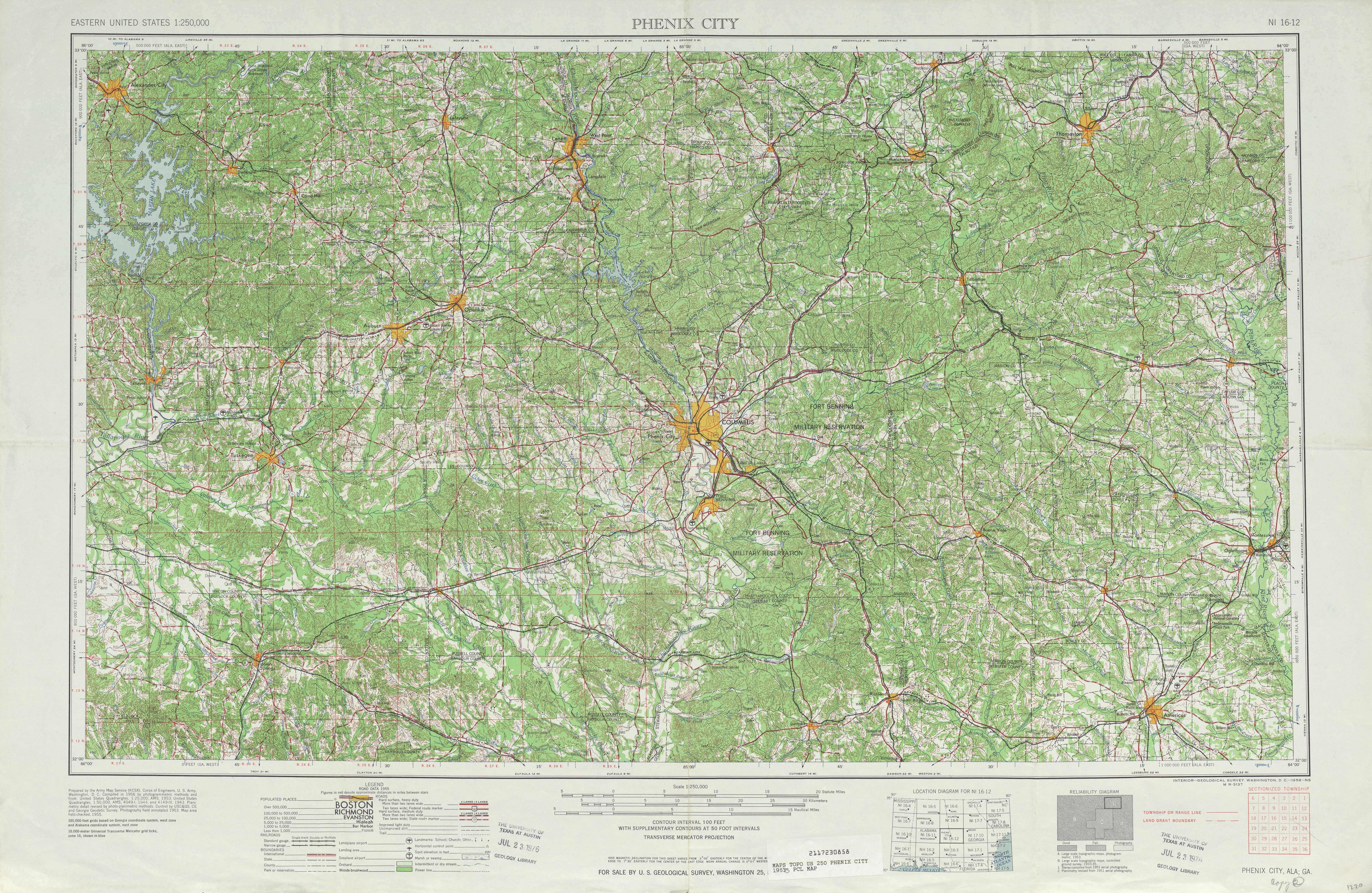Hoja Phenix City del Mapa Topográfico de los Estados Unidos 1955