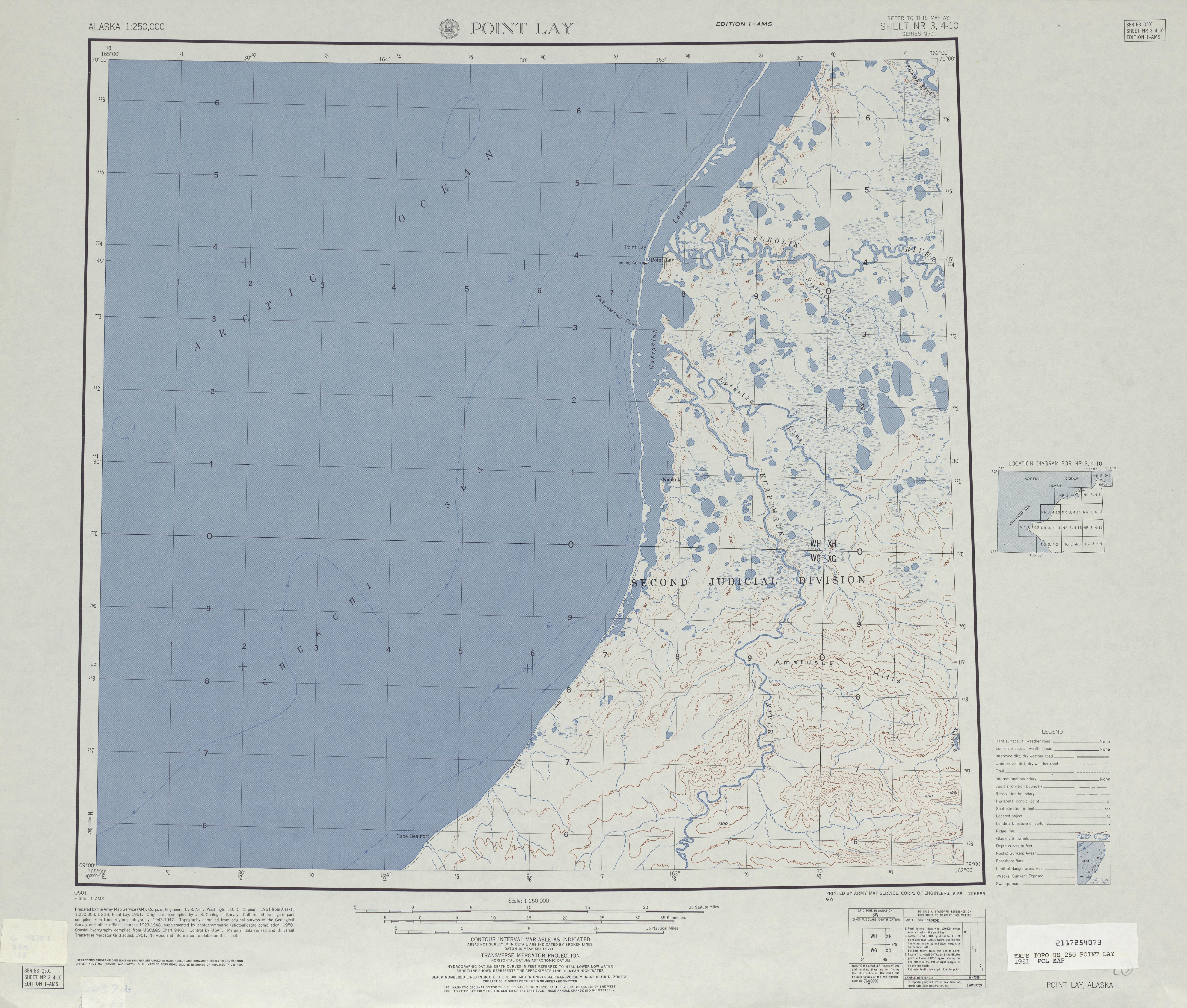 Hoja Point Lay del Mapa Topográfico de los Estados Unidos 1951