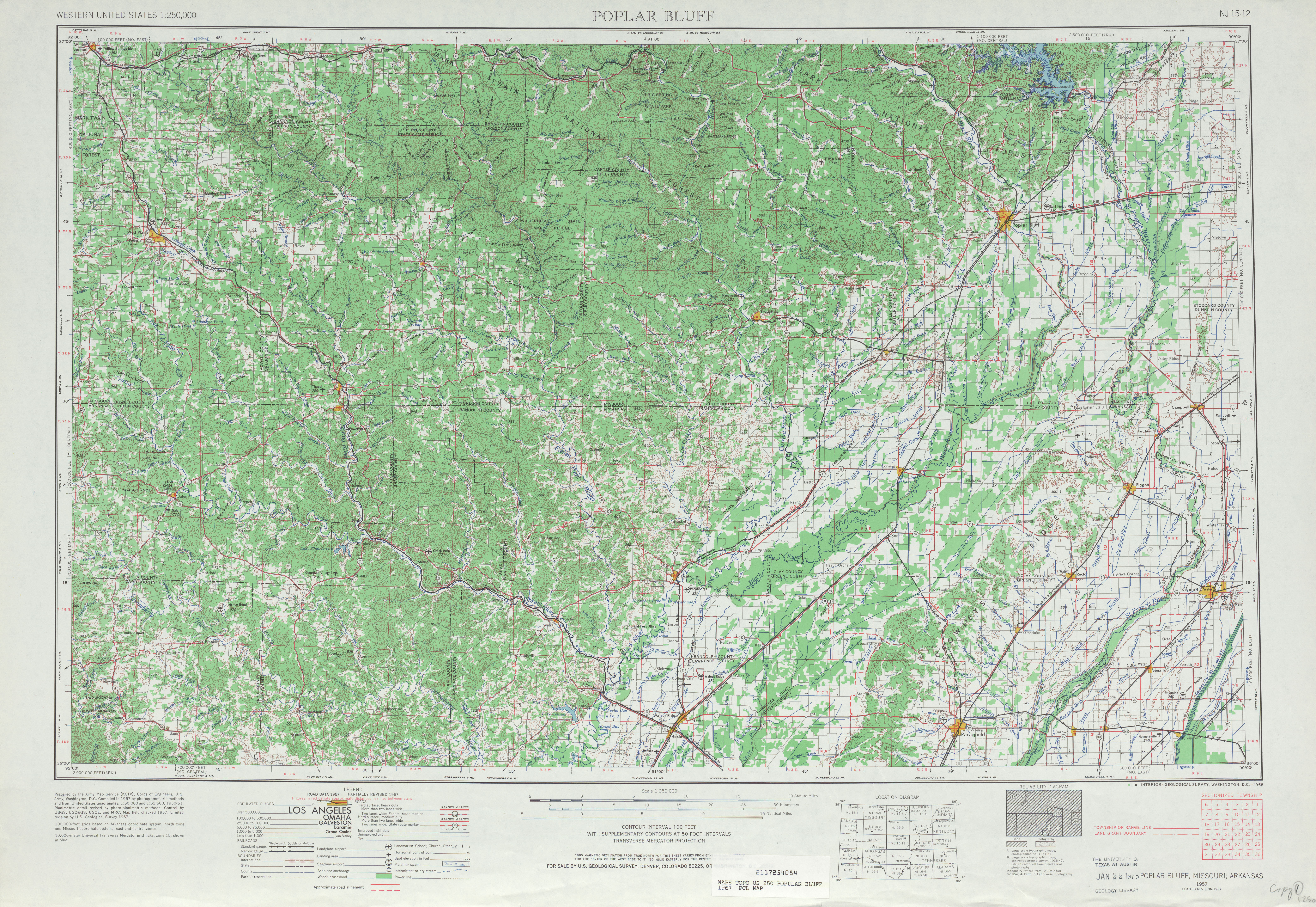 Hoja Poplar Bluff del Mapa Topográfico de los Estados Unidos 1967