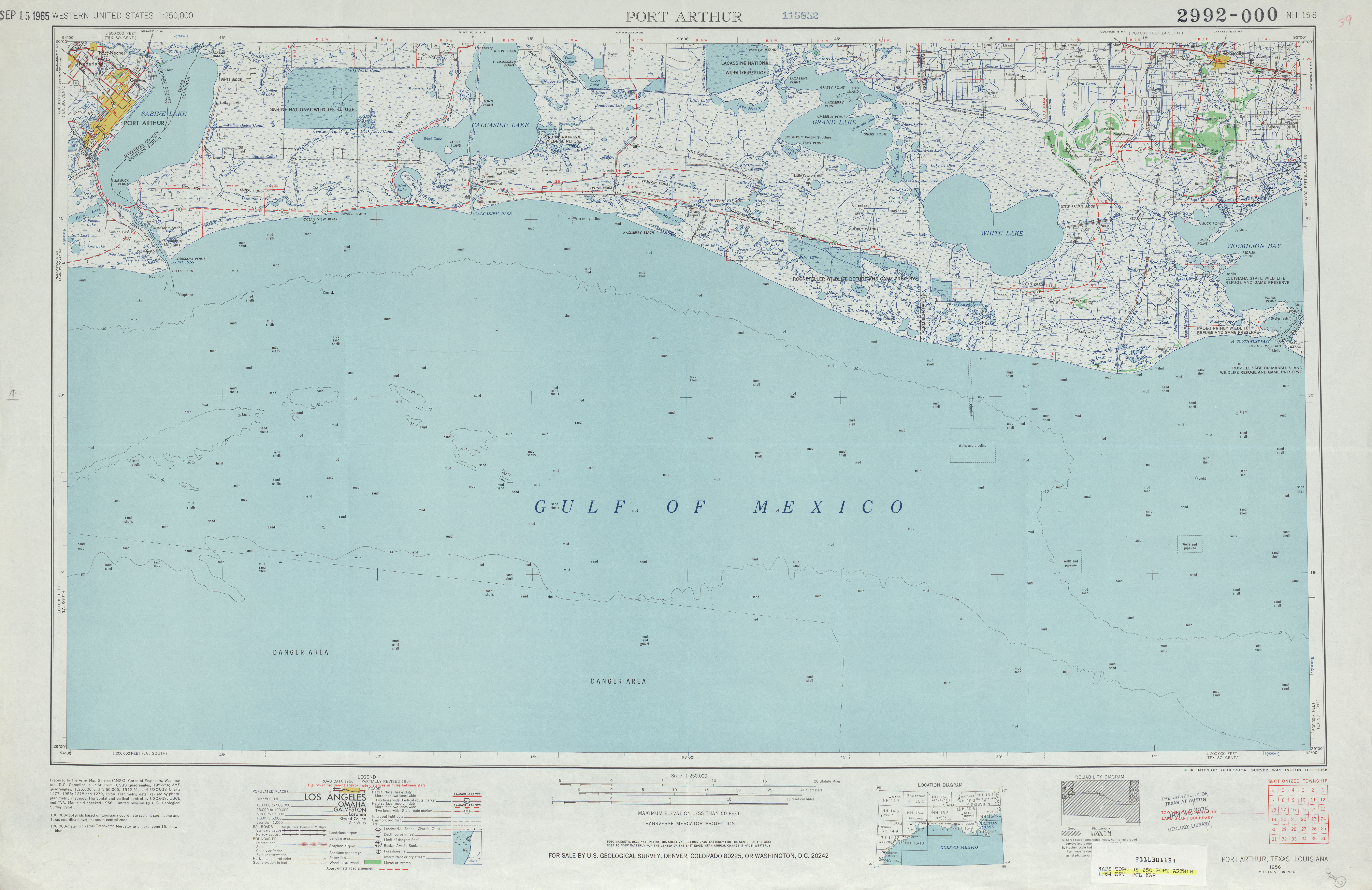 Port Arthur Topographic Map Sheet, United States 1964