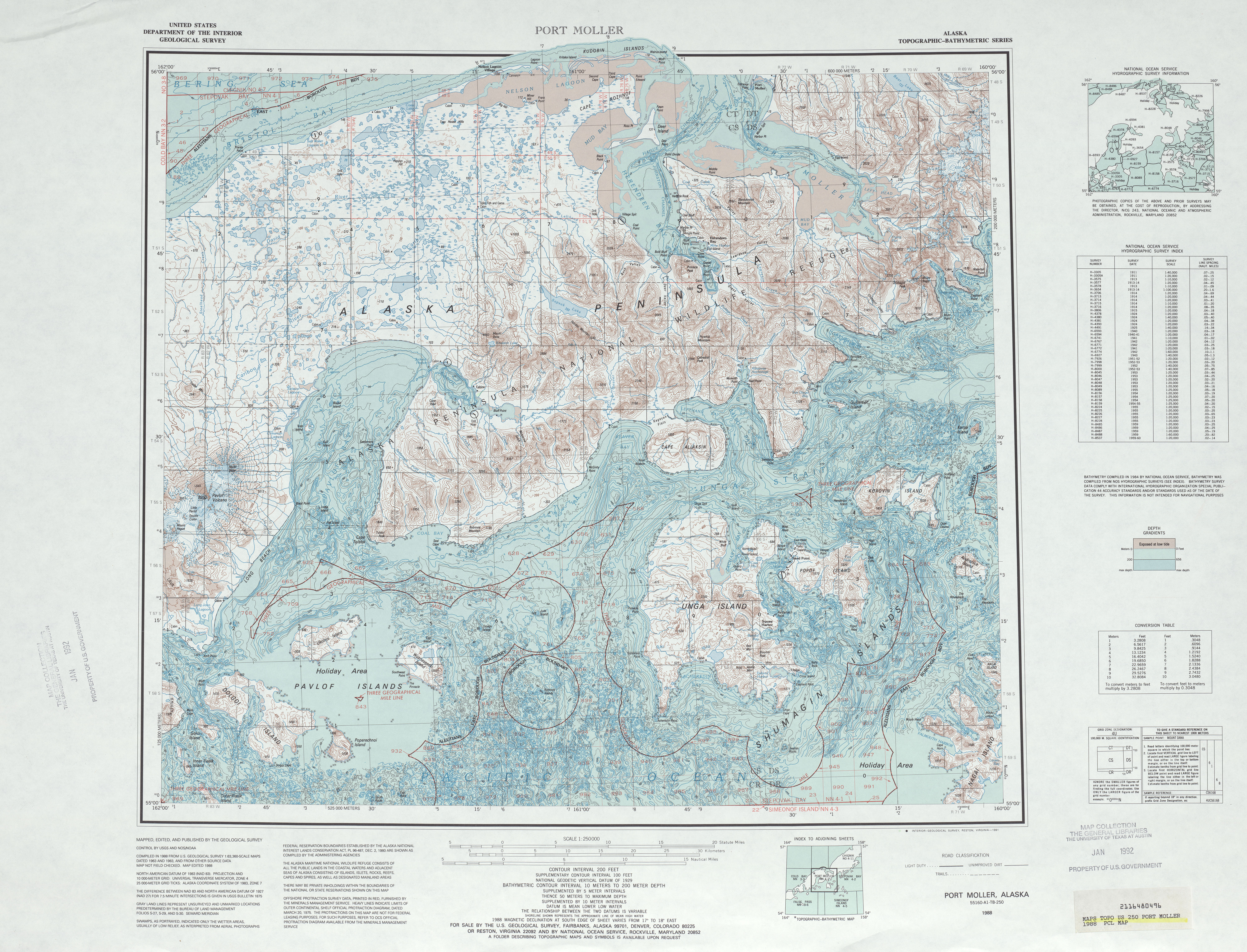 Port Moller Topographic Map Sheet, United States 1988