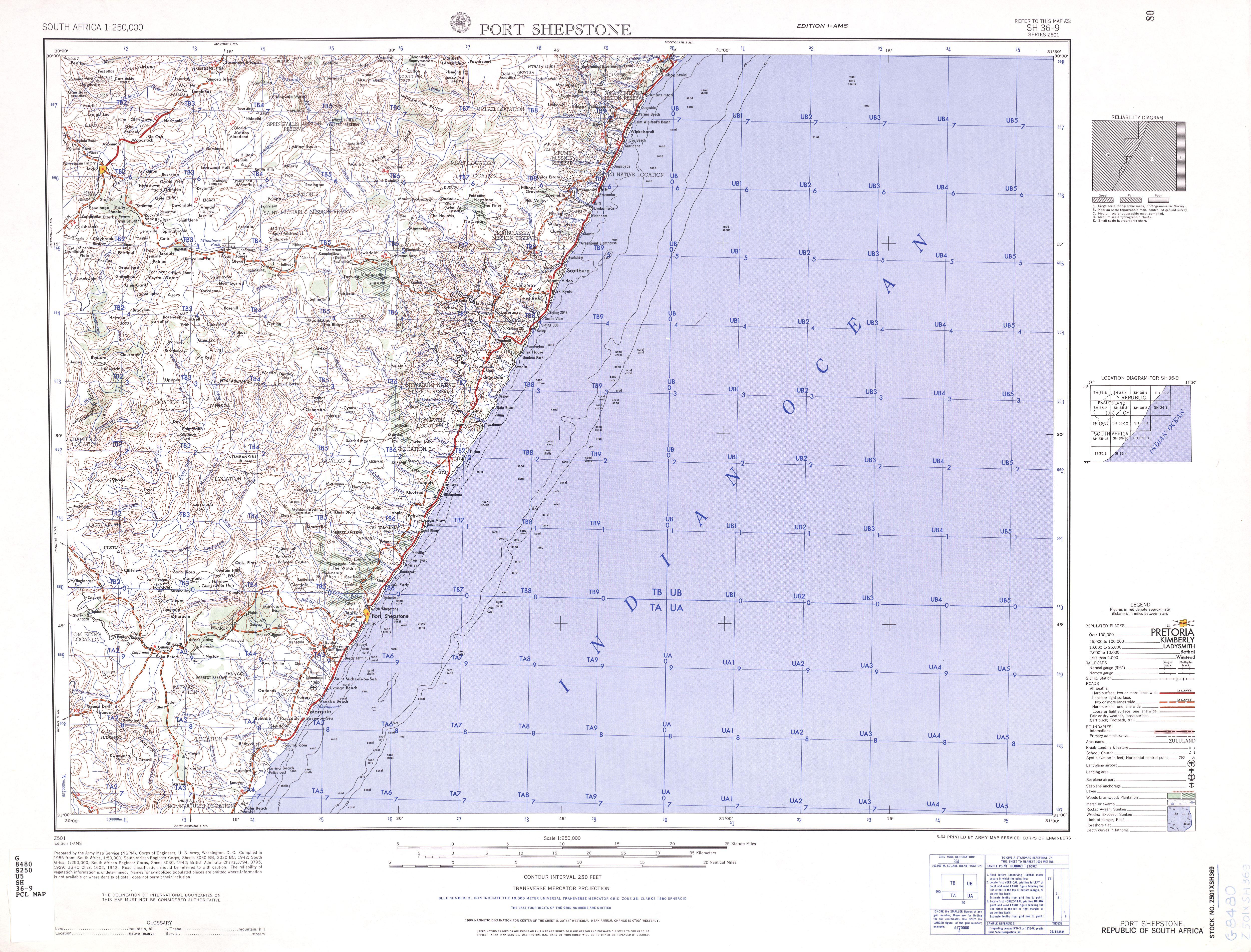 Hoja Port Shepstone del Mapa Topográfico de África Meridional 1954