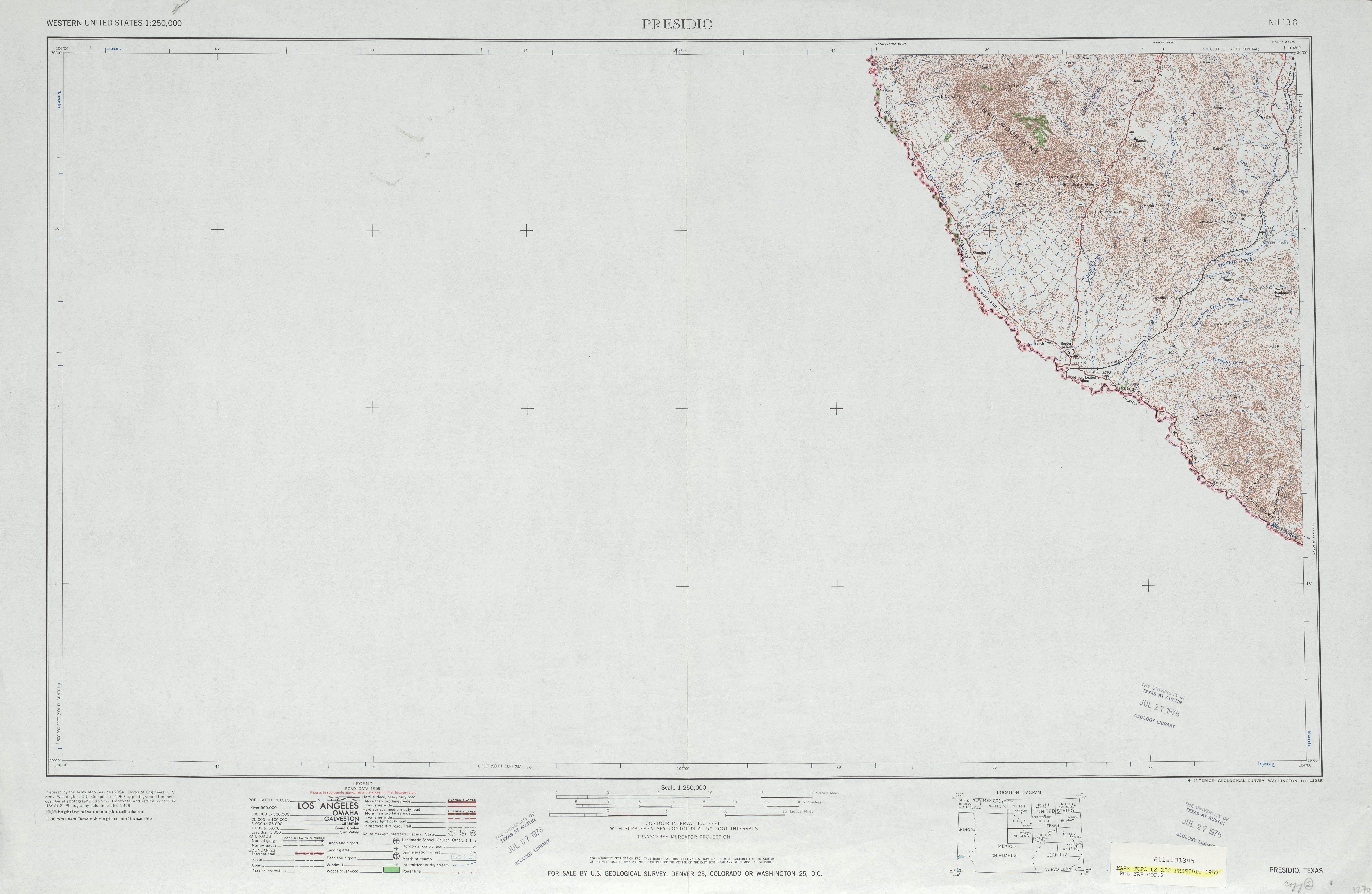 Hoja Presidio del Mapa Topográfico de los Estados Unidos 1959