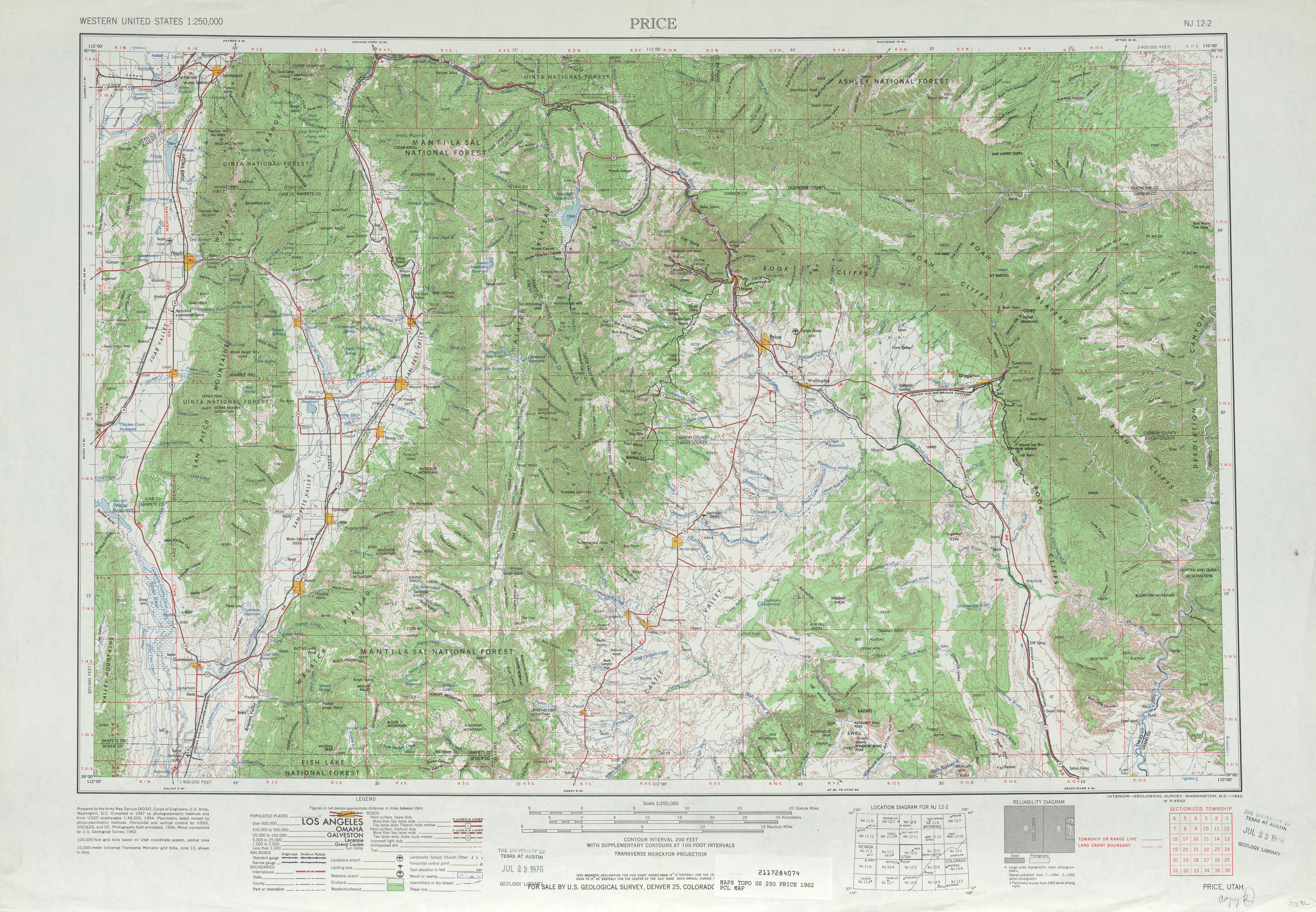 Price Topographic Map Sheet, United States 1962
