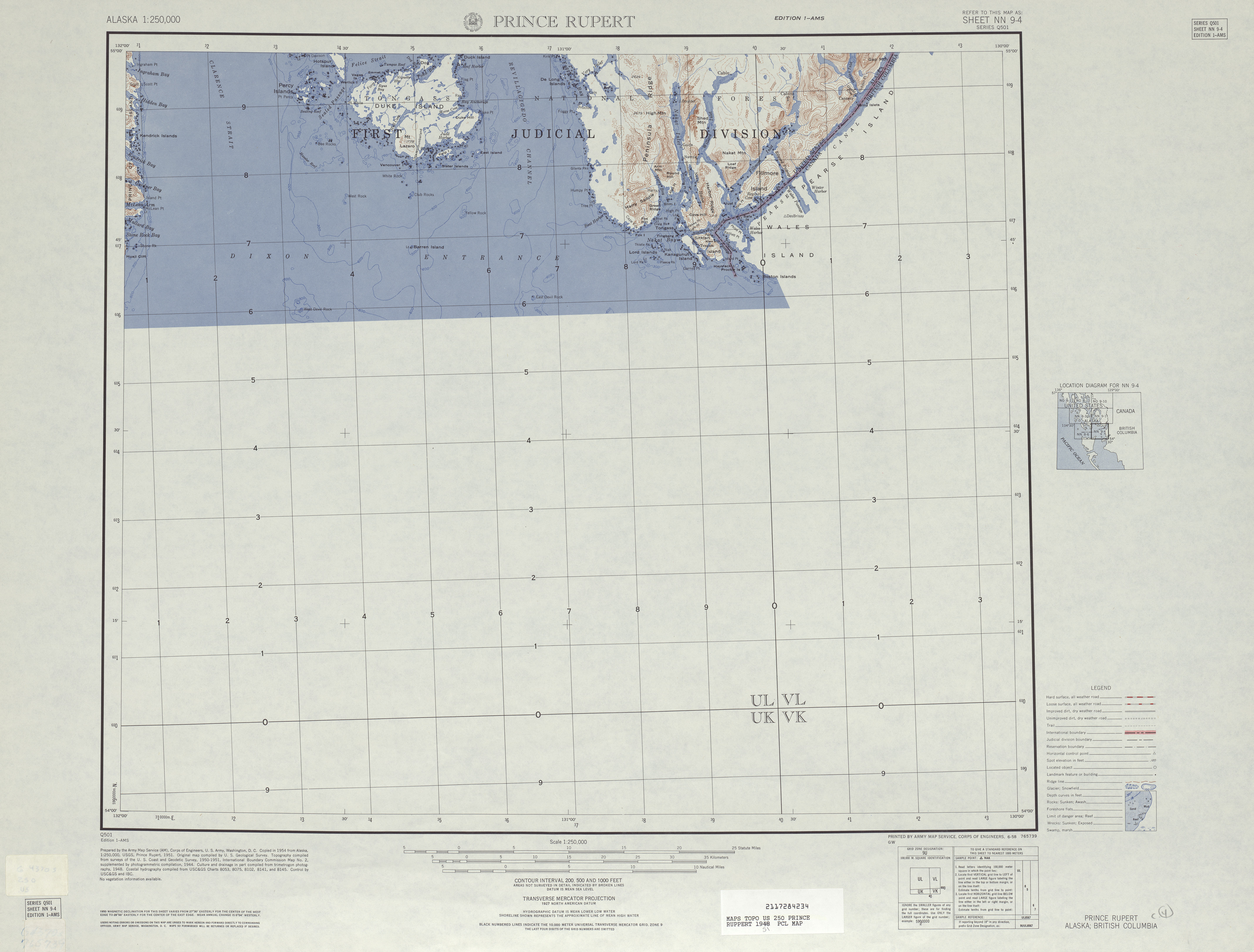 Prince Rupert Topographic Map Sheet, United States 1951