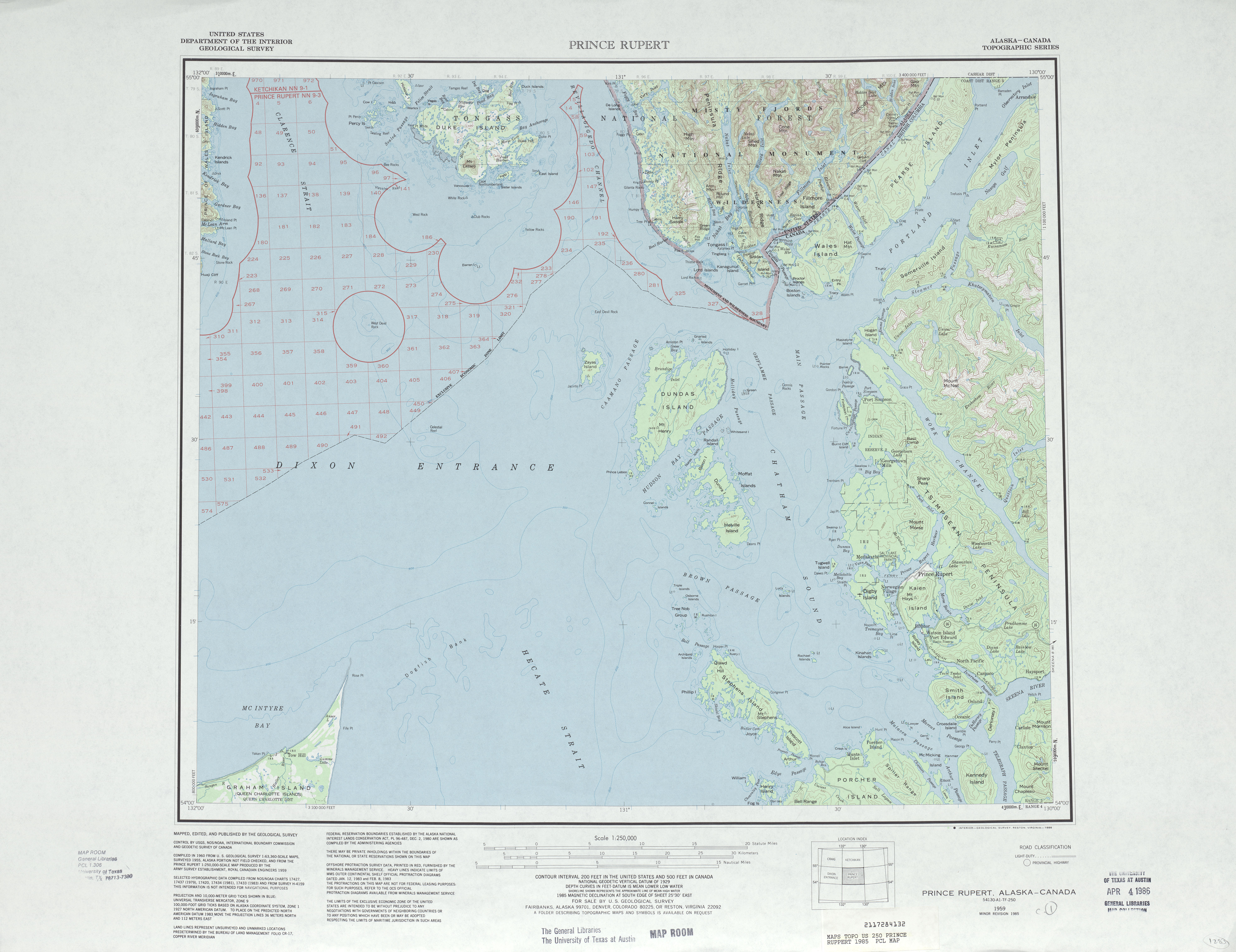 Prince Rupert Topographic Map Sheet, United States 1985