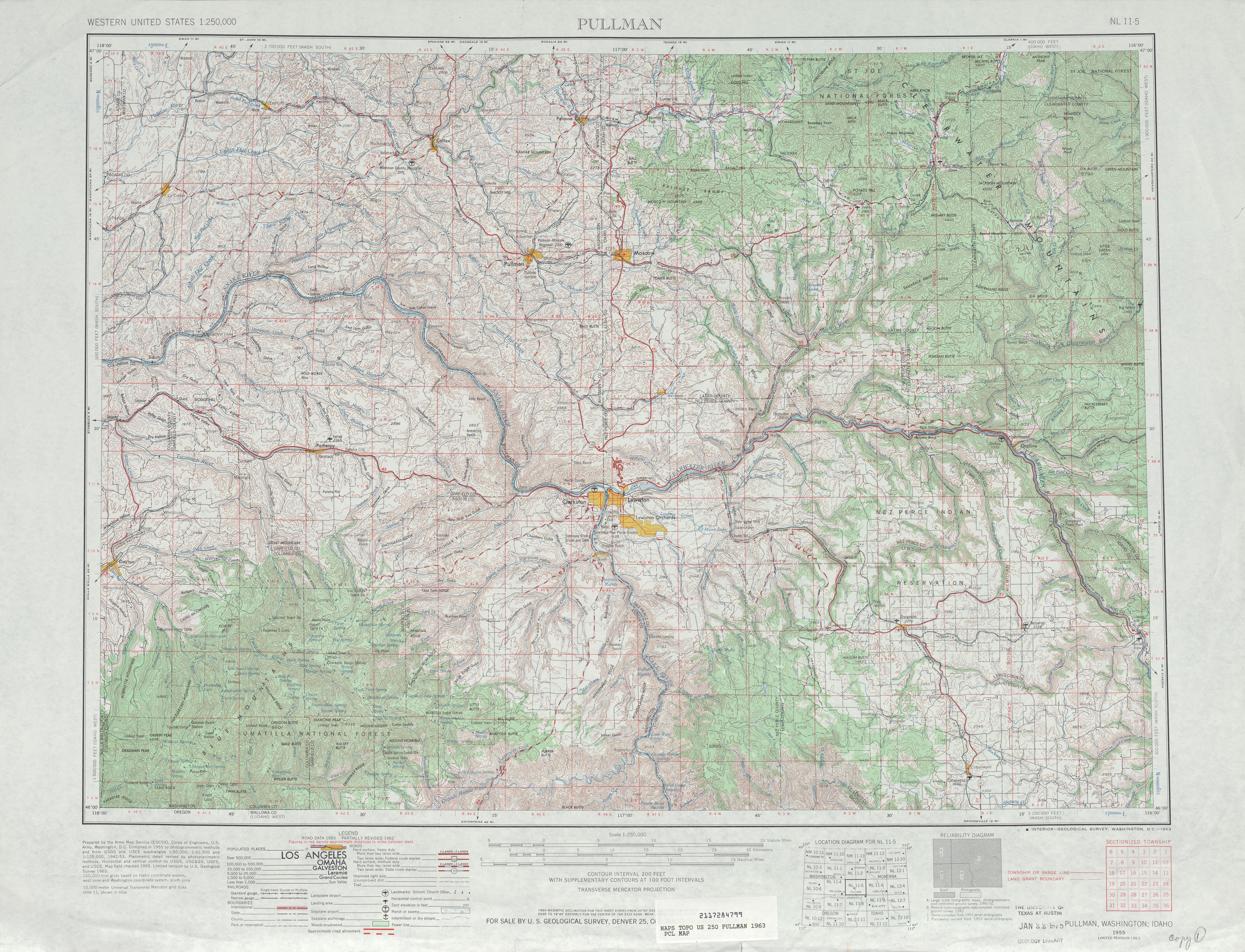 Hoja Pullman del Mapa Topográfico de los Estados Unidos 1963