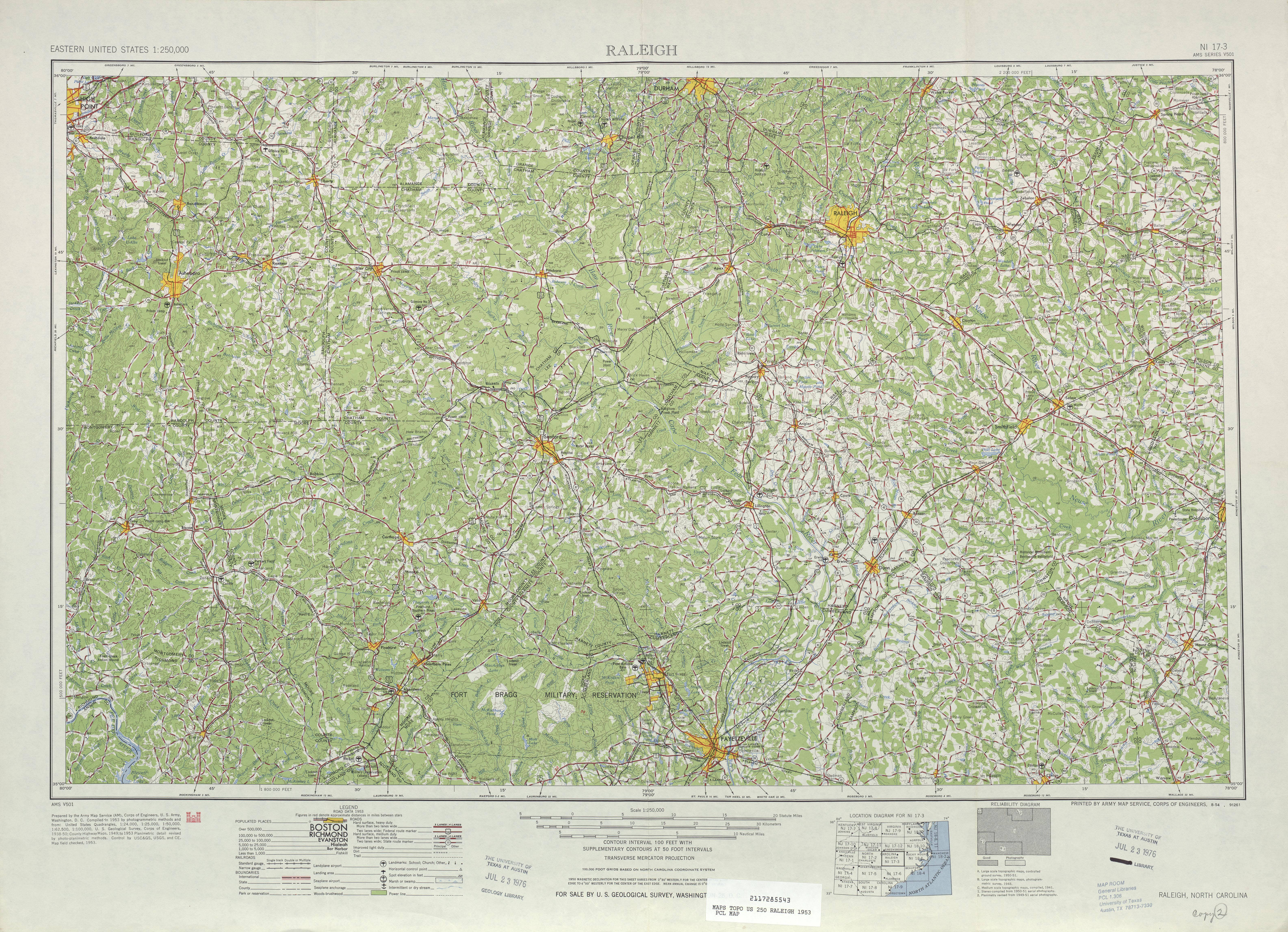 Hoja Raleigh del Mapa Topográfico de los Estados Unidos 1953