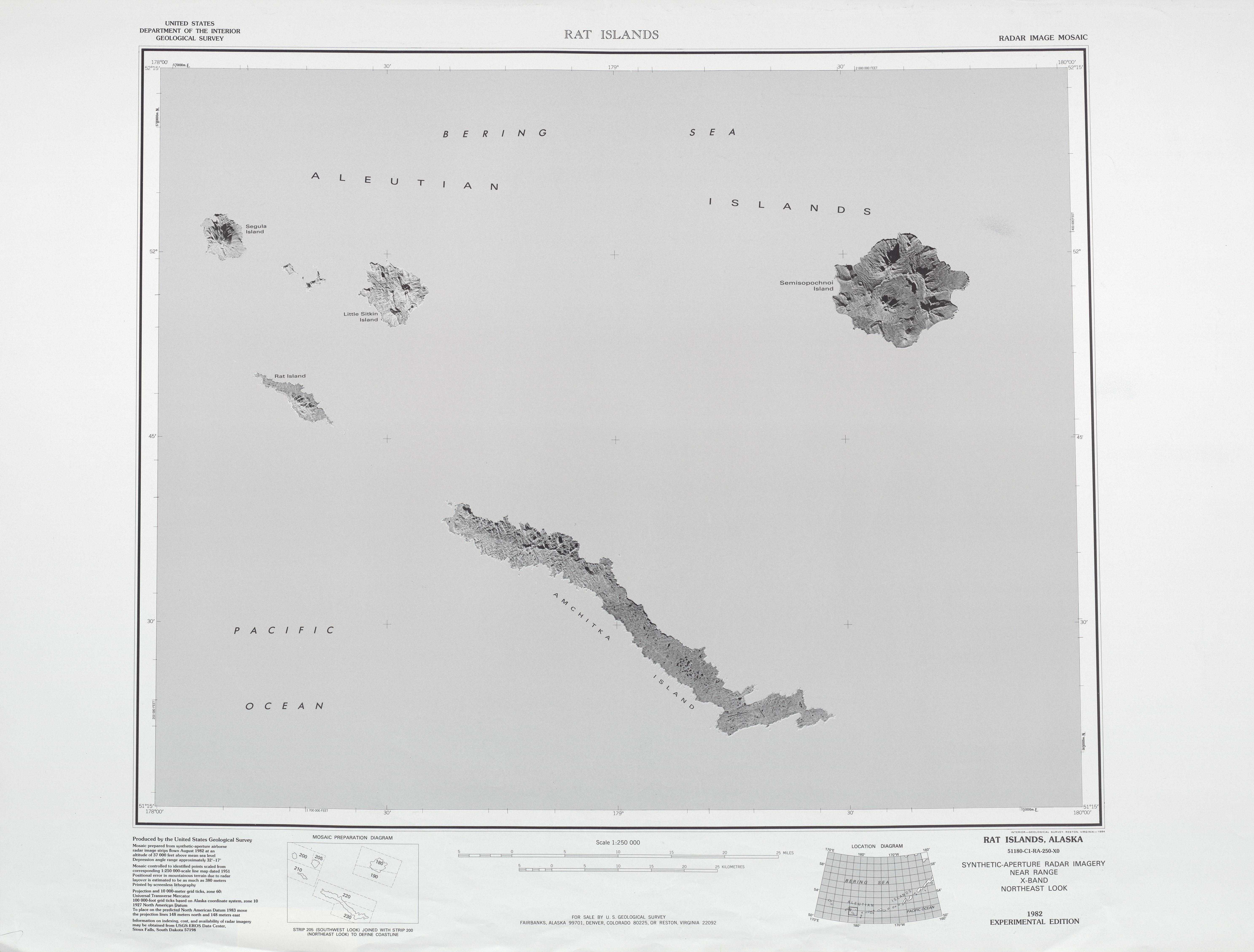 Hoja Rat Islands del Mosaico de Imágenes Radar de los Estados Unidos 1983