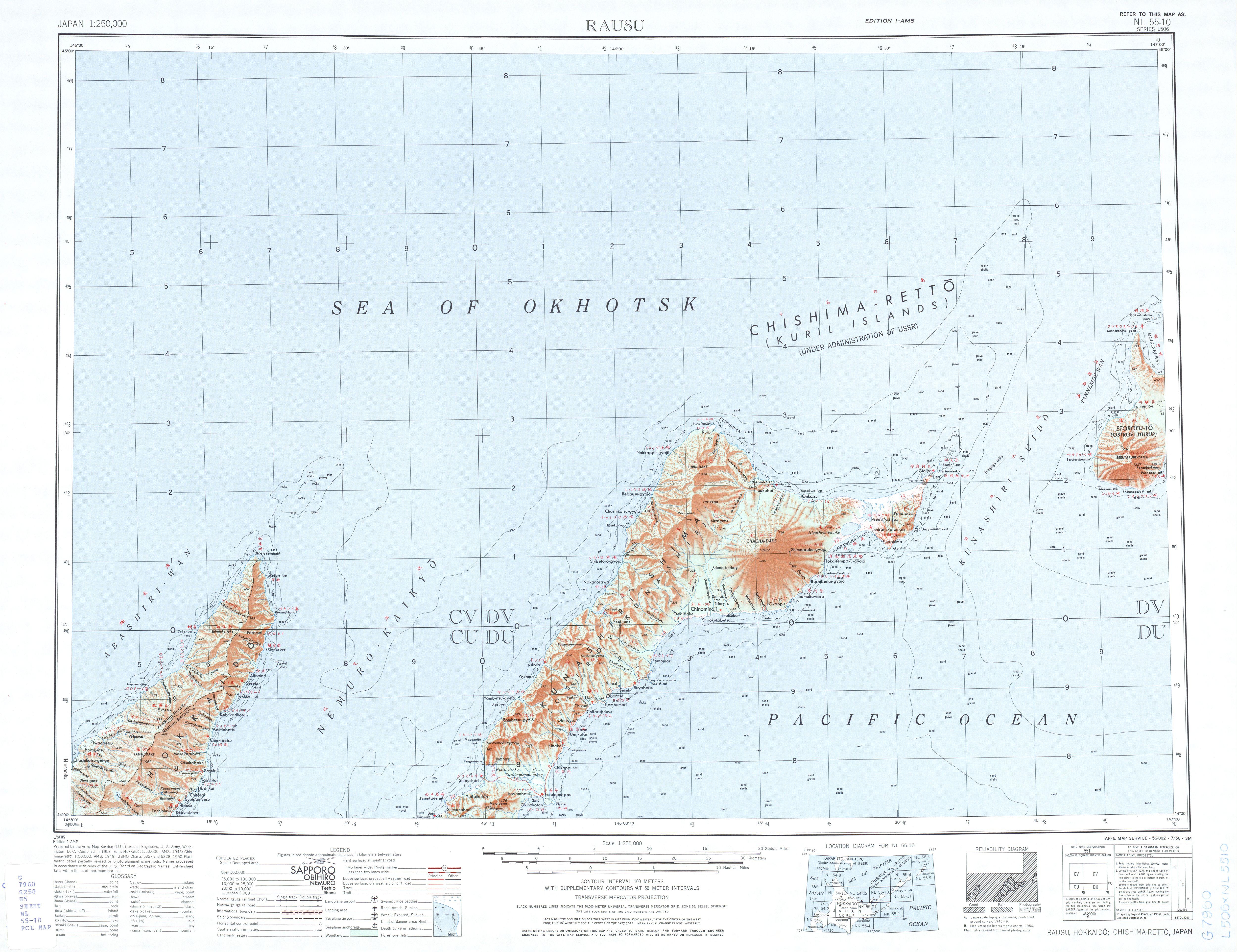 Hoja Rausu del Mapa Topográfico de Japón 1954