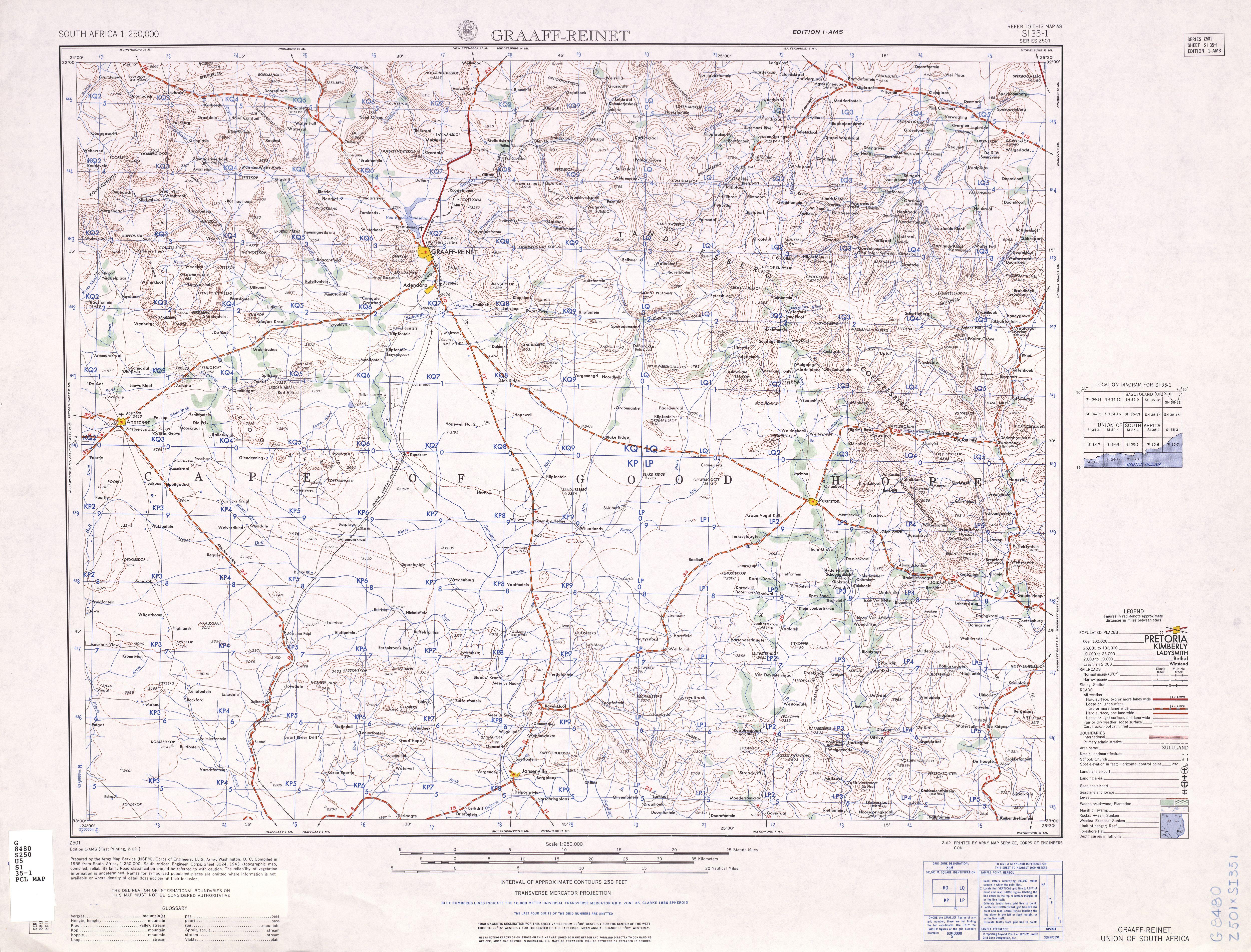 Hoja Reinet del Mapa Topográfico de África Meridional 1954