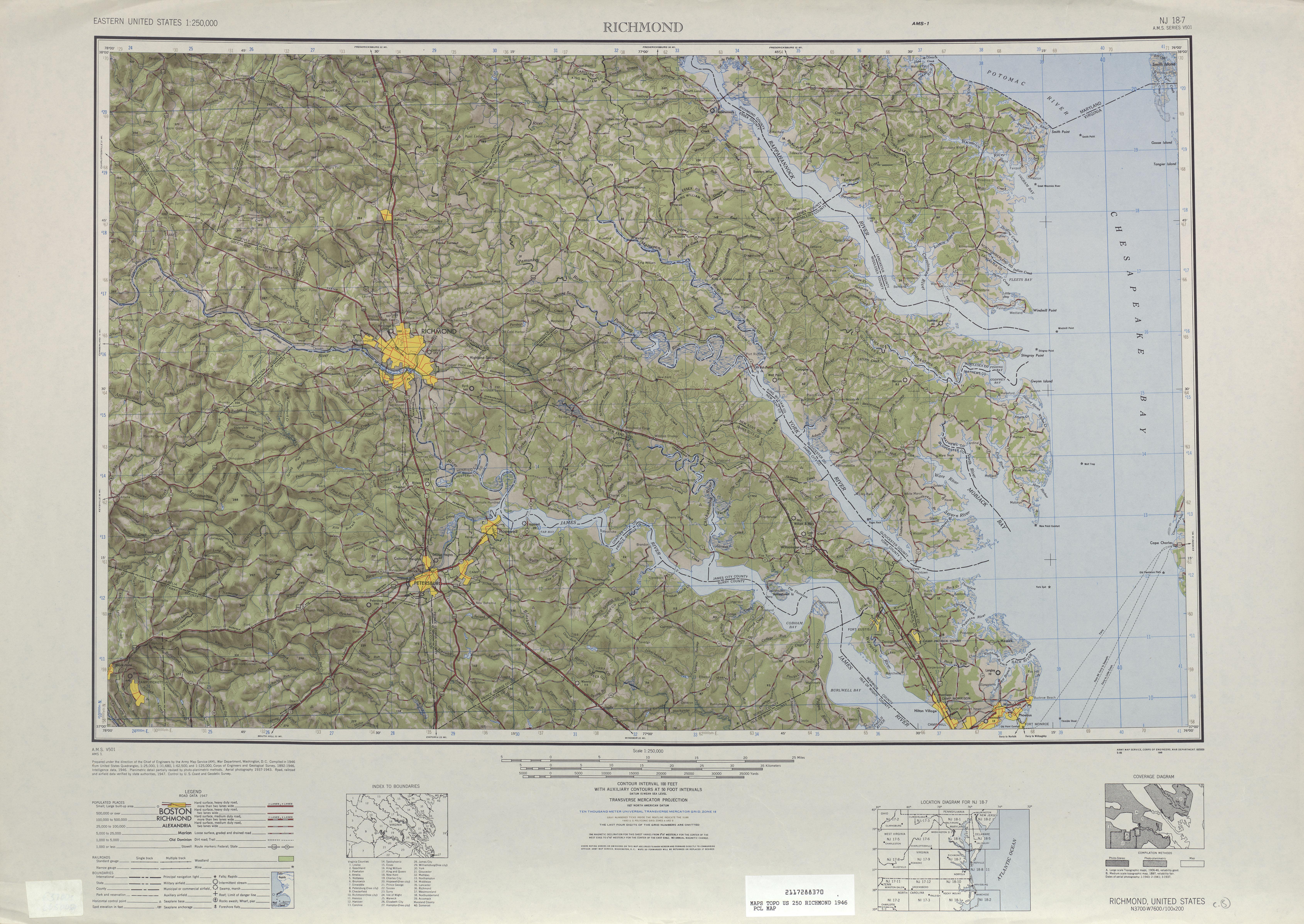 Hoja Richmond del Mapa Topográfico de los Estados Unidos 1946