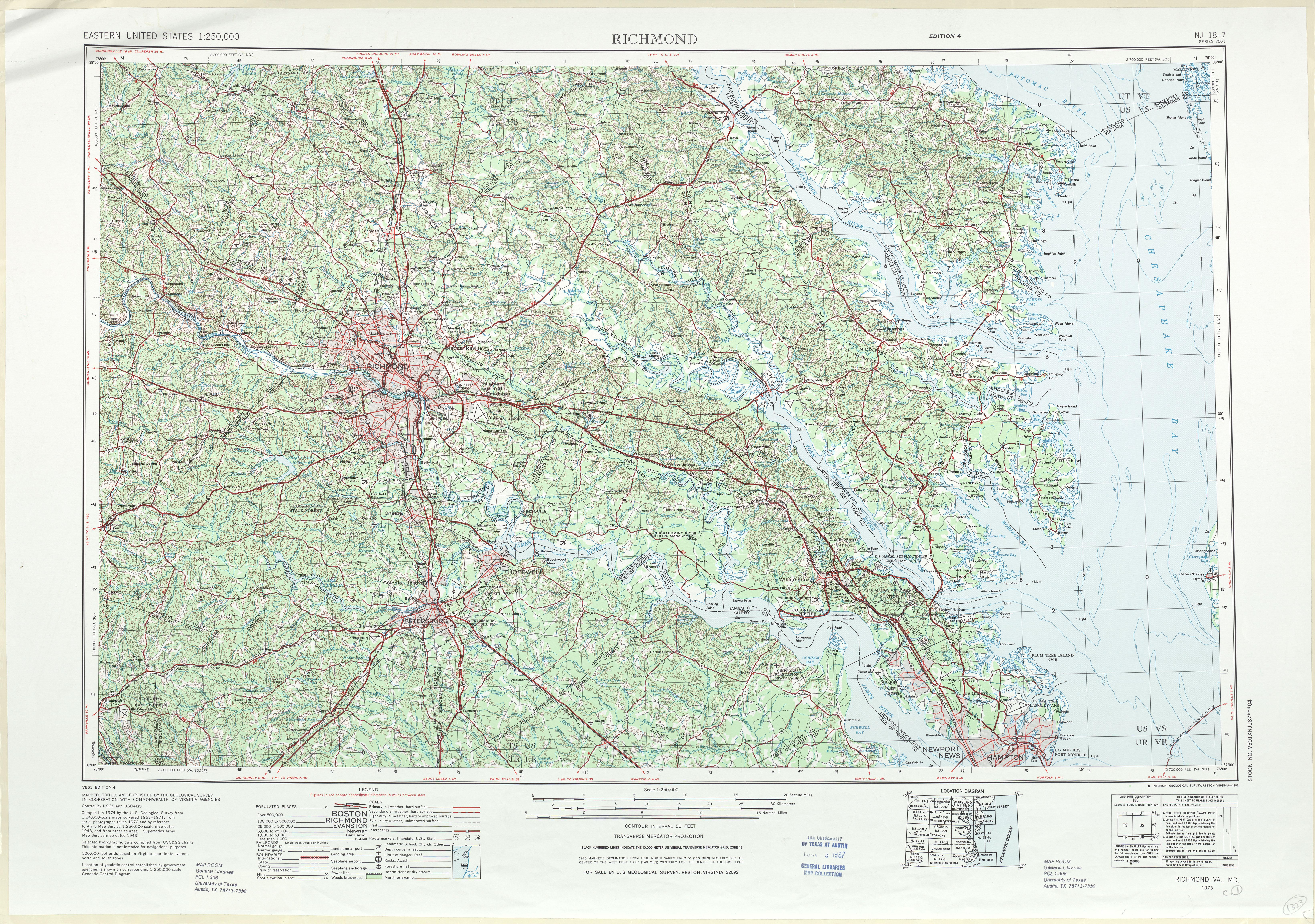 Hoja Richmond del Mapa Topográfico de los Estados Unidos 1972