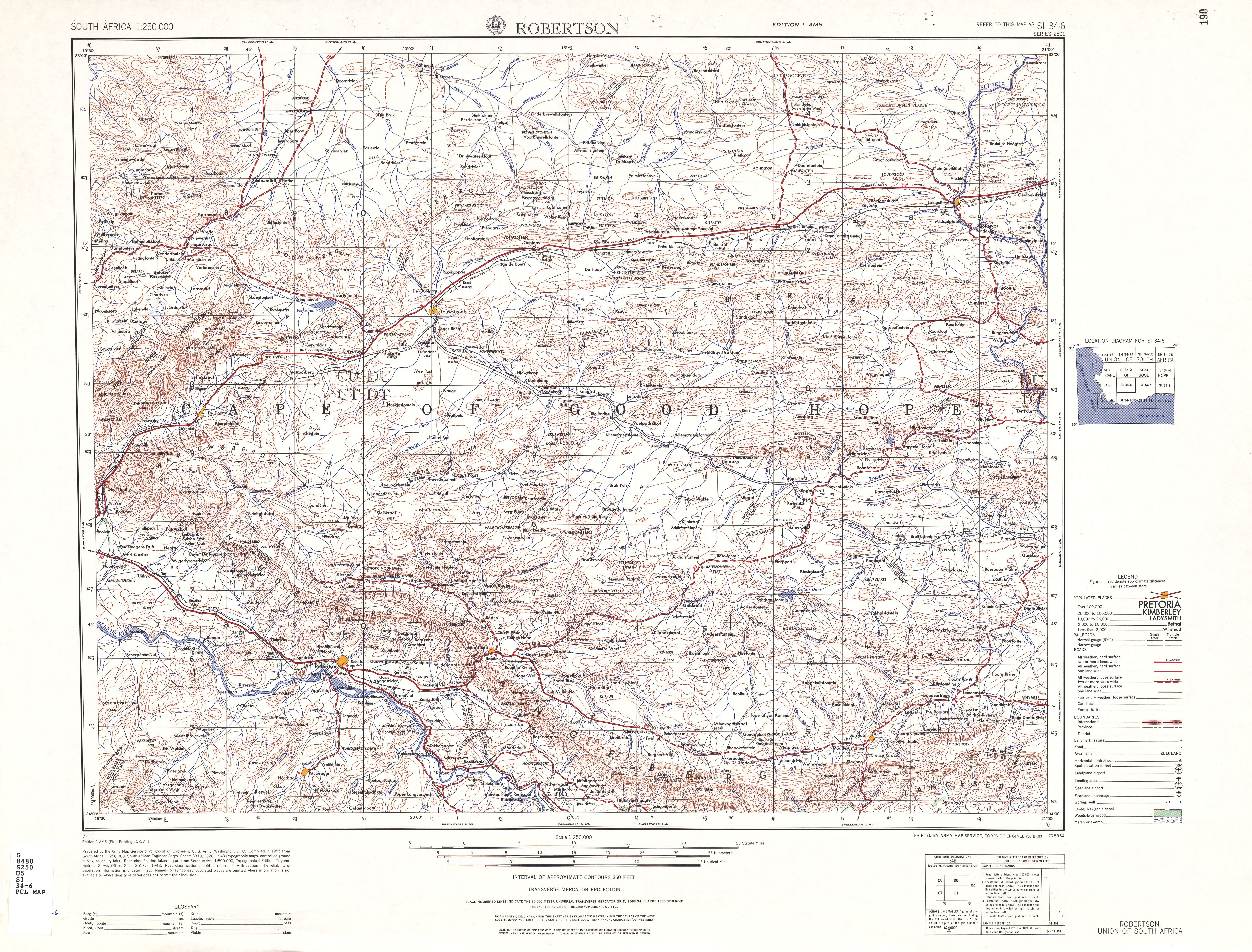 Robertson Topographic Map Sheet, Southern Africa 1954