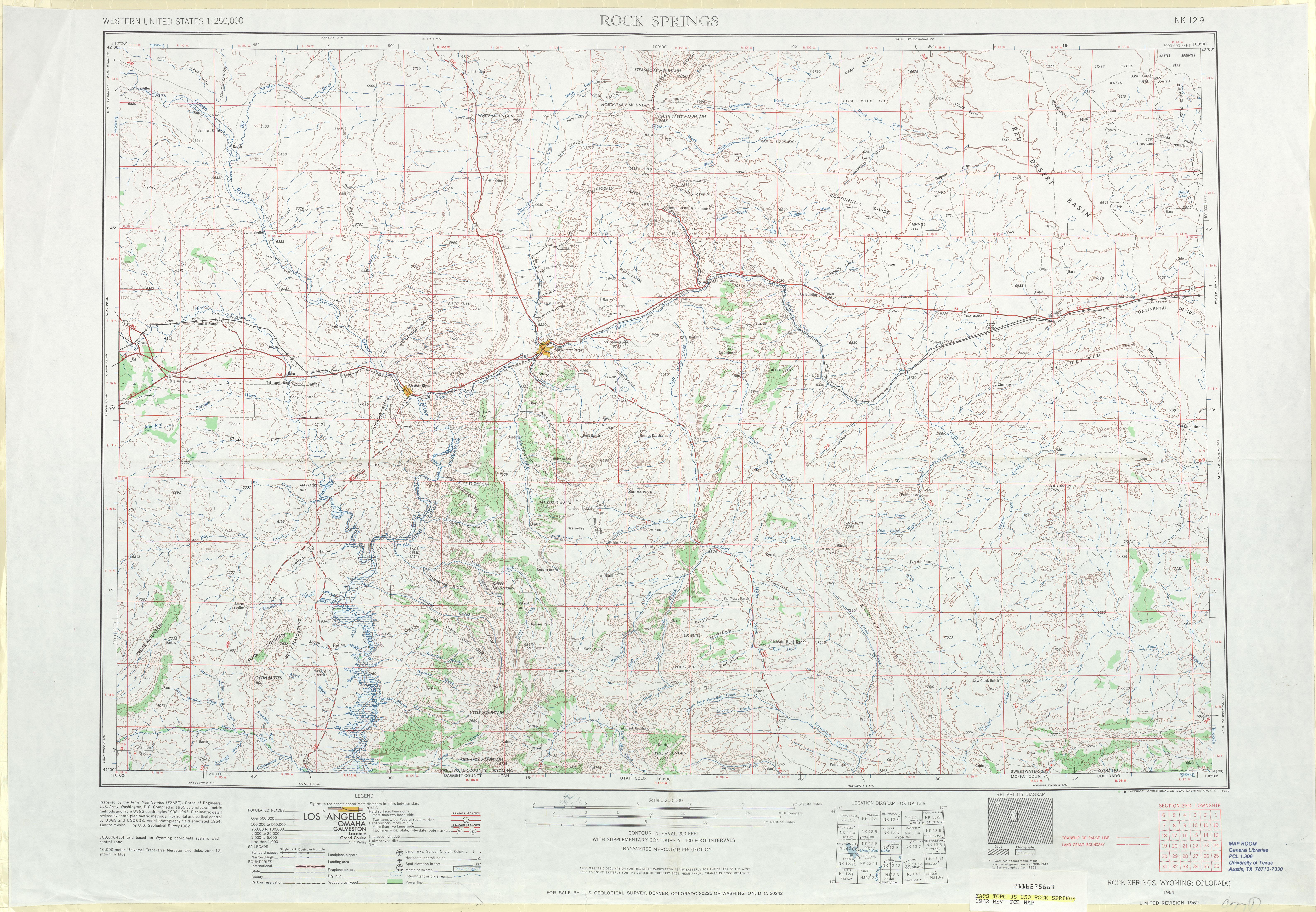 Hoja Rock Springs del Mapa Topográfico de los Estados Unidos 1962