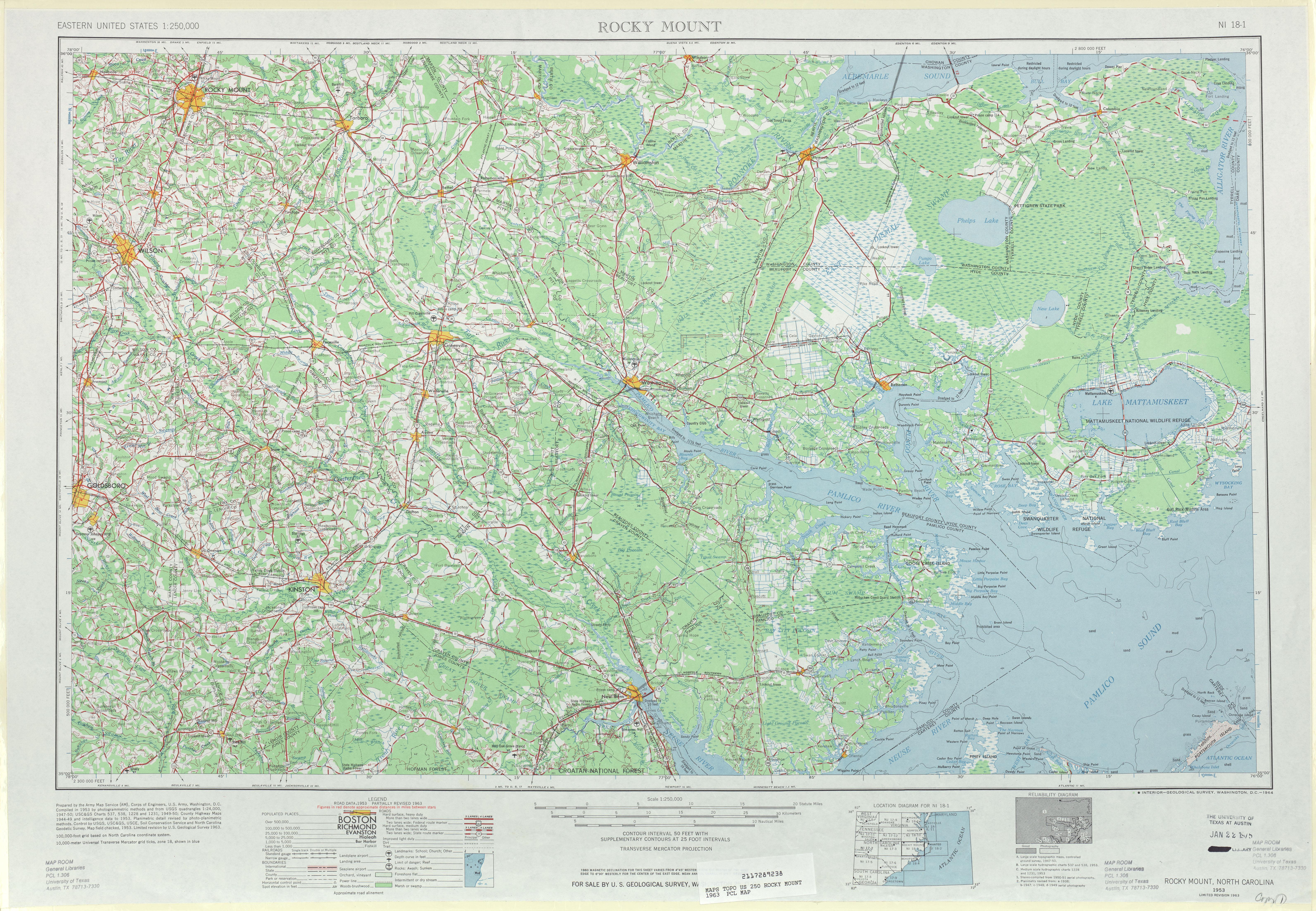 Hoja Rocky Mount del Mapa Topográfico de los Estados Unidos 1963