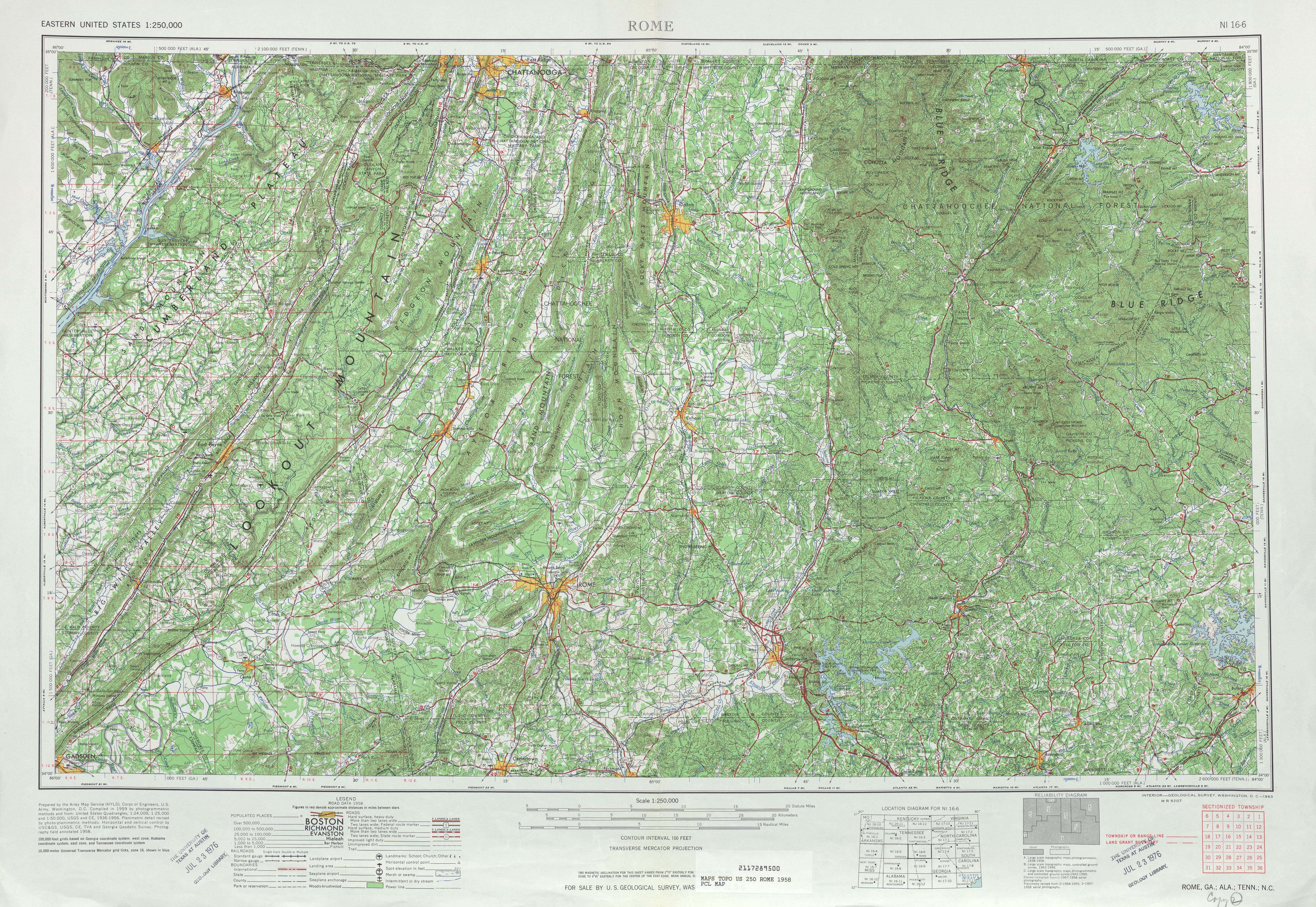Rome Topographic Map Sheet, United States 1968