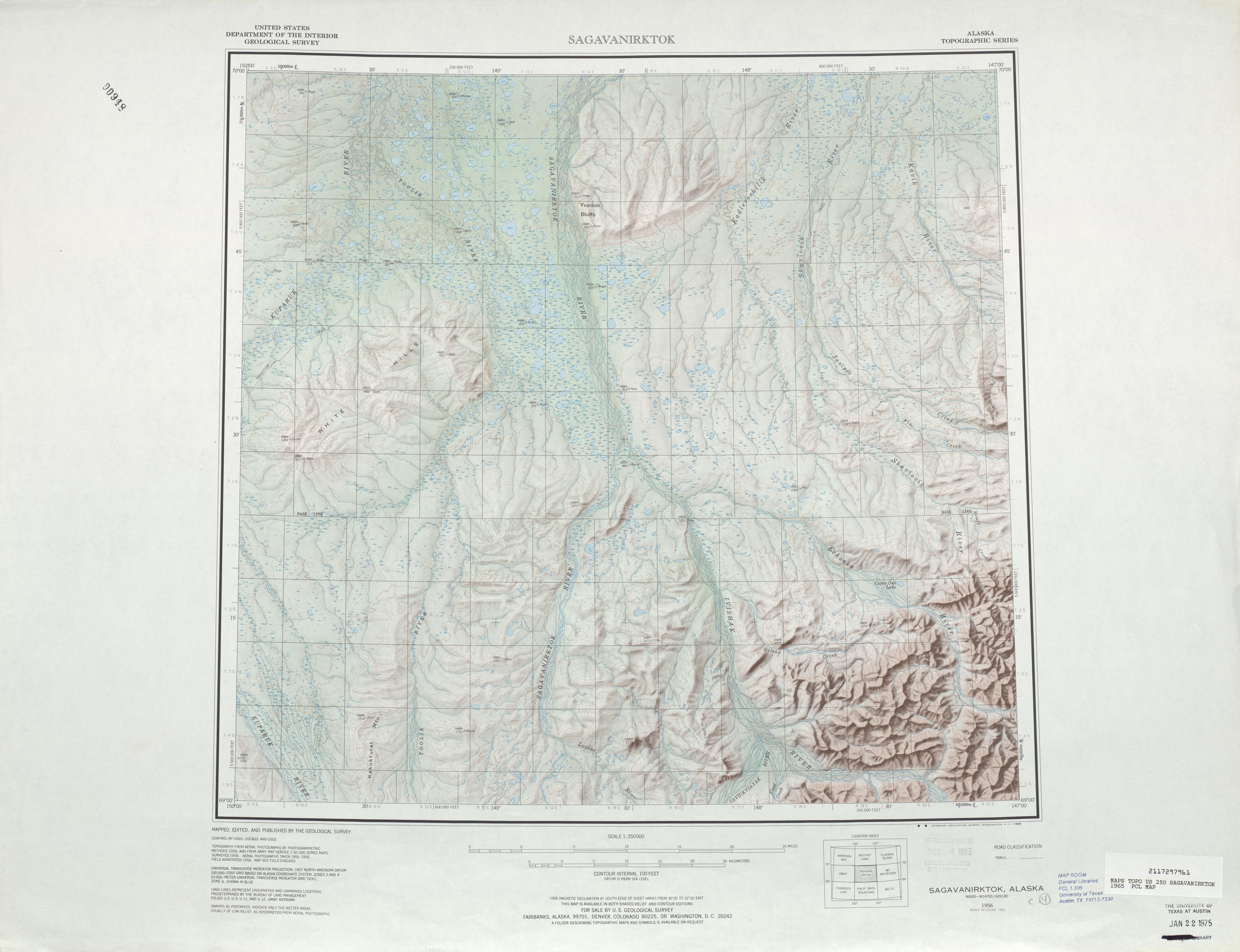 Hoja Sagavanirktok del Mapa Topográfico de los Estados Unidos 1965